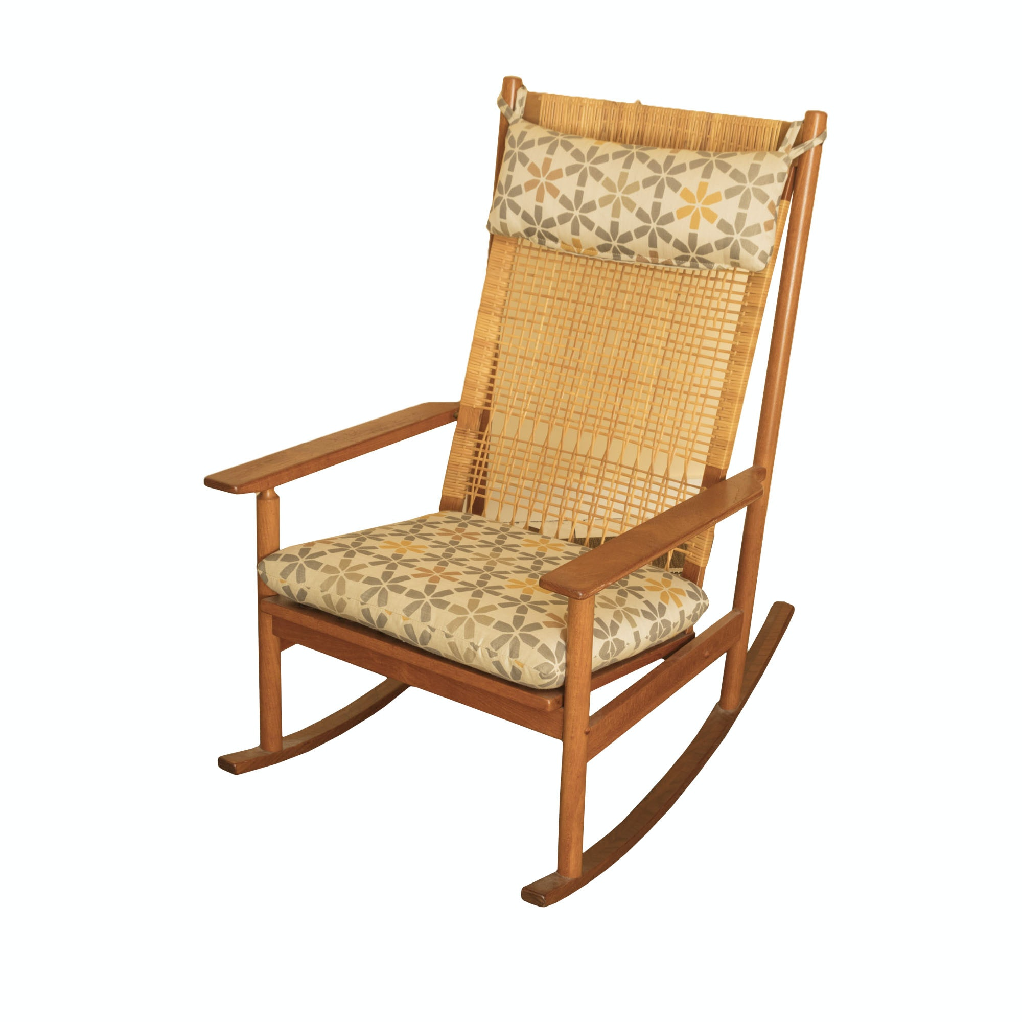 Vintage Oak Rocking Chair with Rattan Back