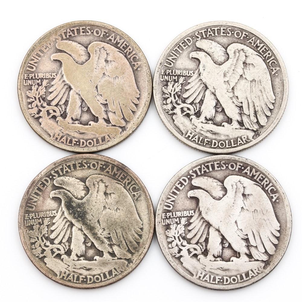 Four 1919 Walking Liberty Half-Dollars