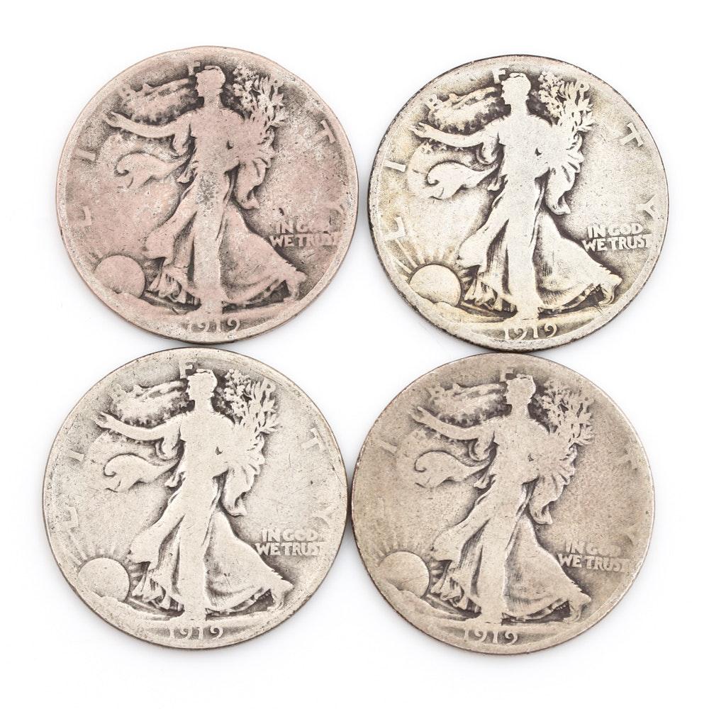 Four 1919 Walking Liberty Half Dollars