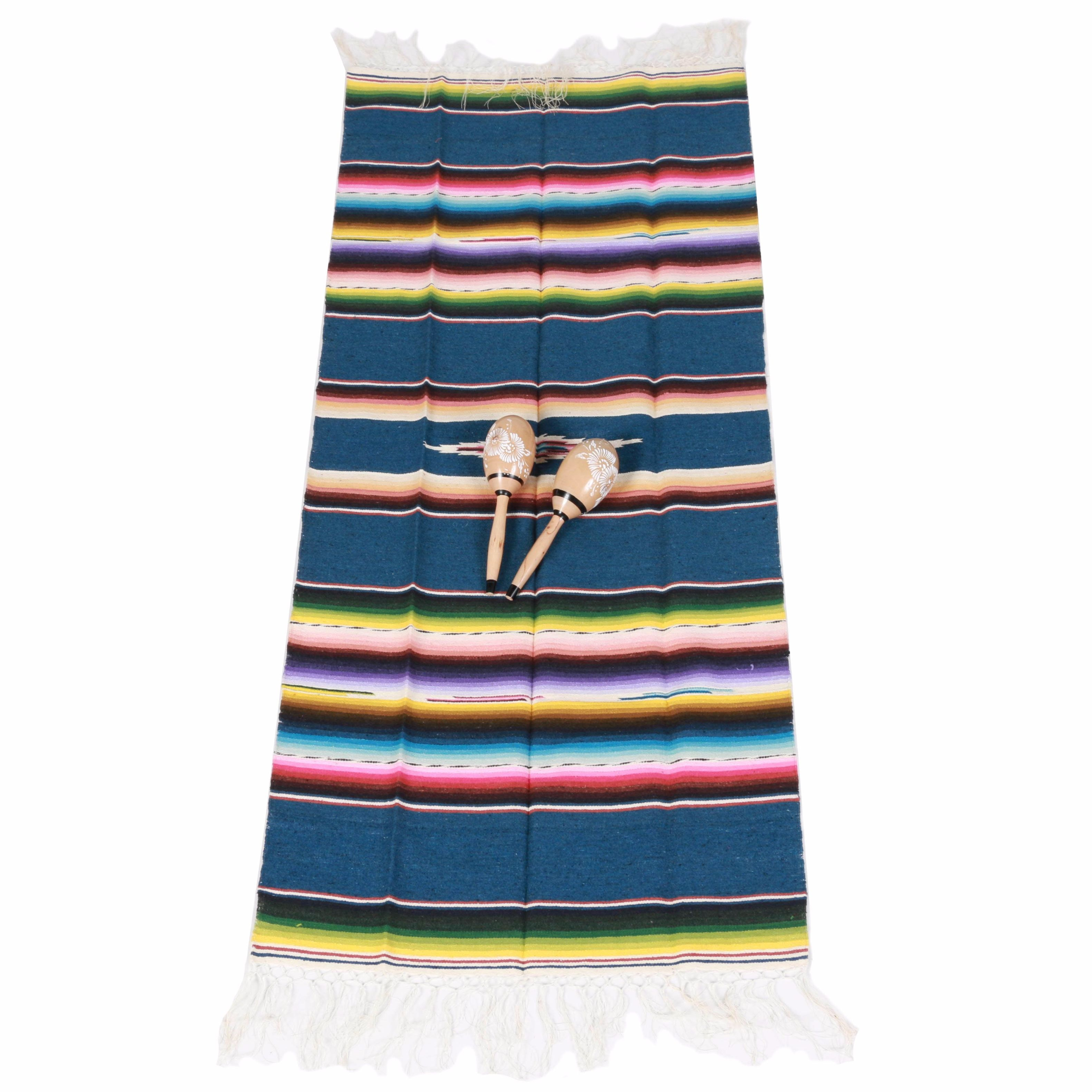 Mexican Style Serape Blanket And Pair of Maracas