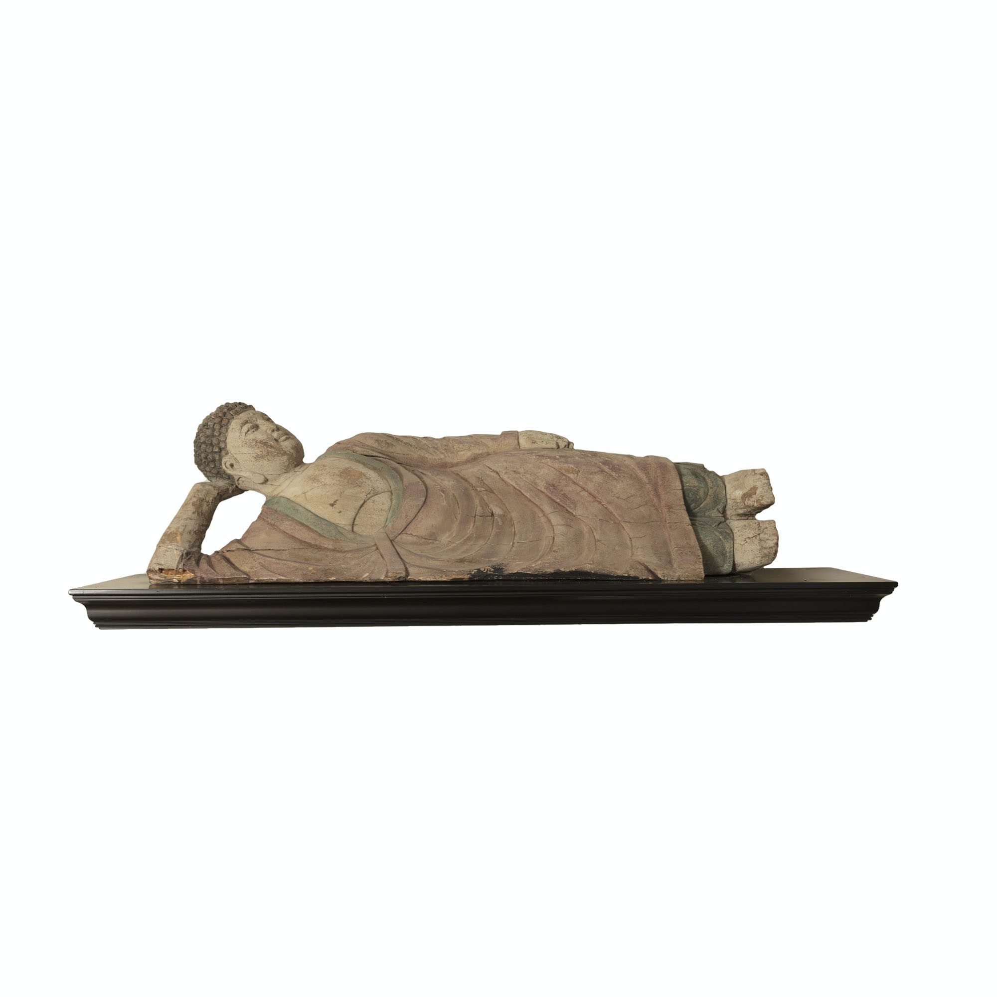 Carved Wood Sculpture of Reclining Buddha