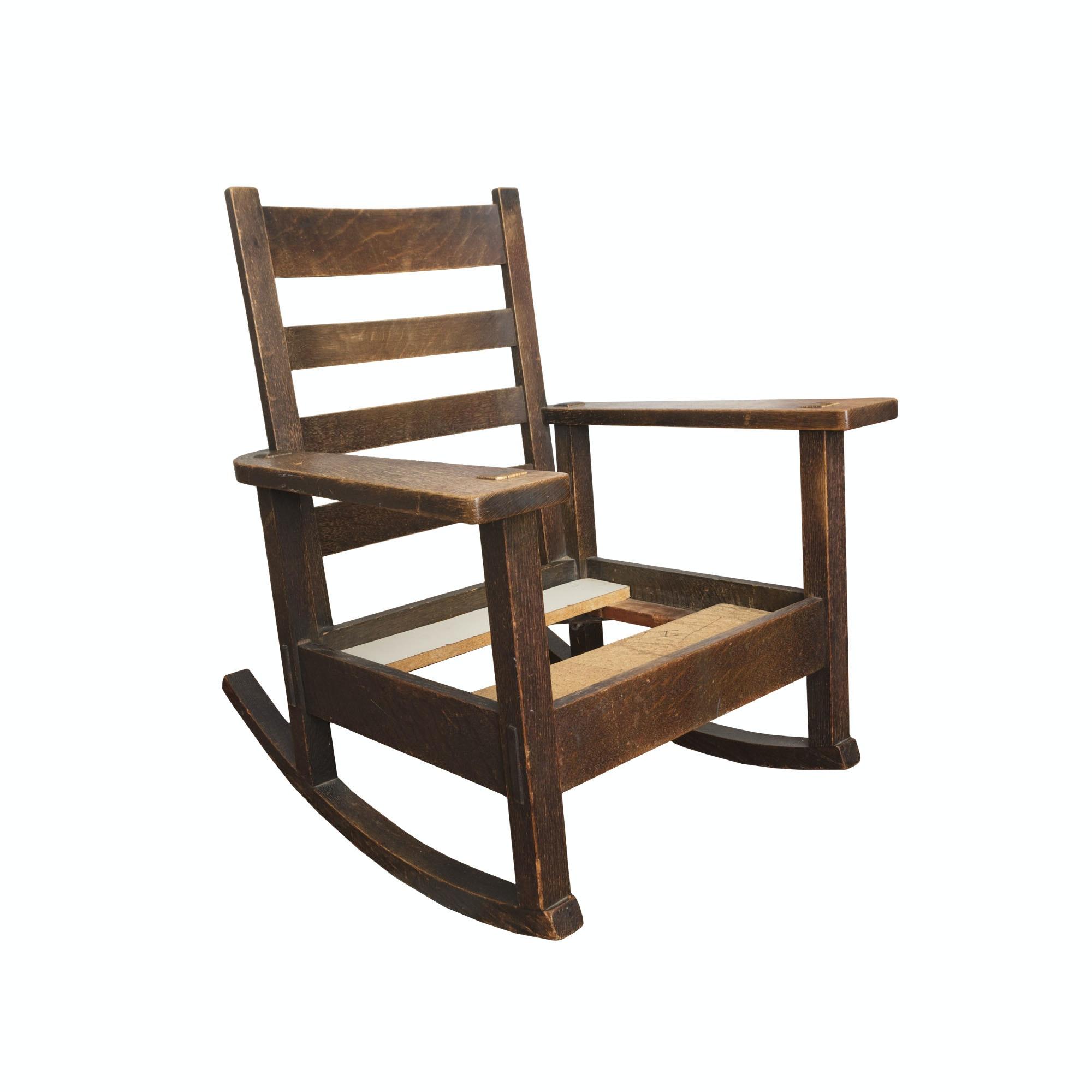 Quartersawn Oak Mission Style Rocking Chair Frame