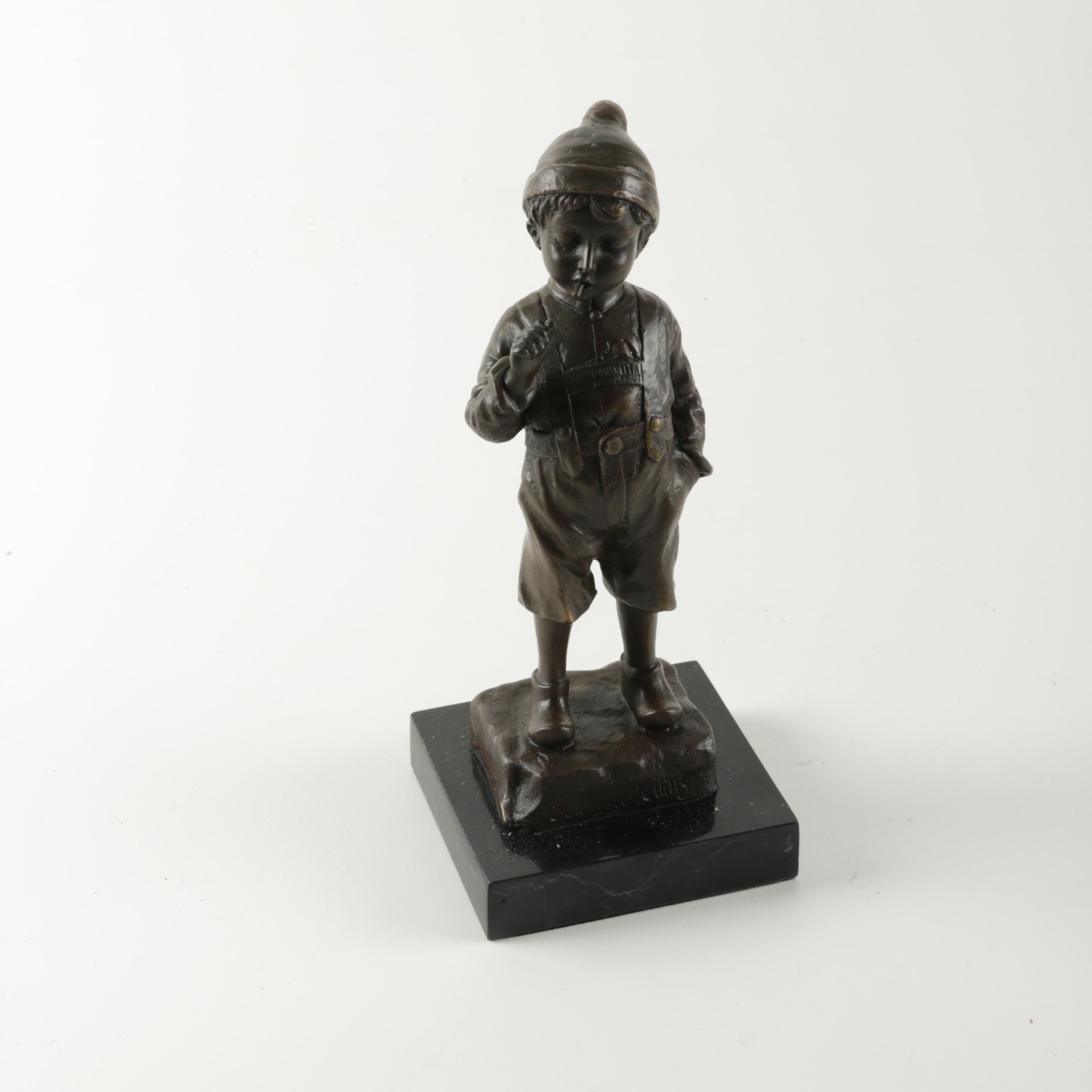Metal Sculpture of Boy