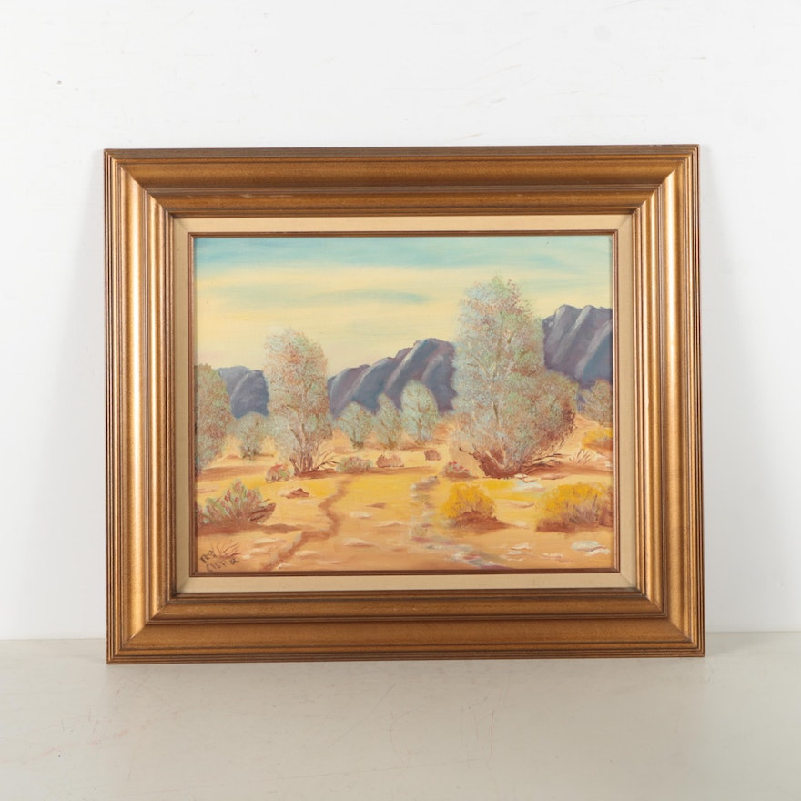 Oil painting on canvas board of a desert landscape ebth for What is canvas board