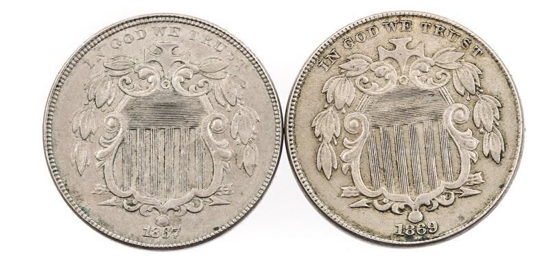 Two Antique U.S. Shield Nickels