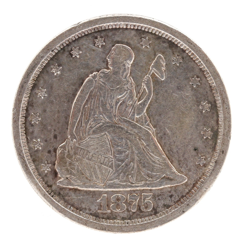 1875 S Liberty Seated Twenty Cent Silver Coin