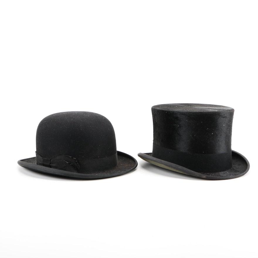 Beaver Fur Top Hat and John B. Stetson Bowler   EBTH 302043ee8dc
