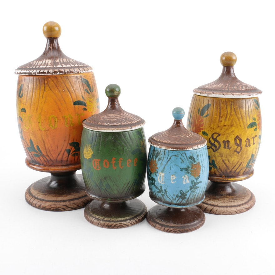 Set of Four Vintage Kitchen Counter Canisters