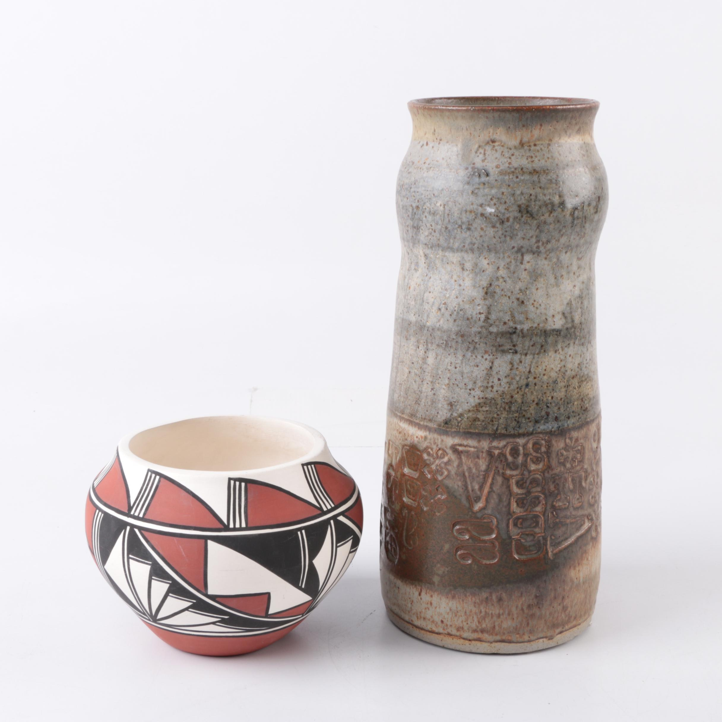 Sanchez Acoma and Hand Thrown Stoneware Vases