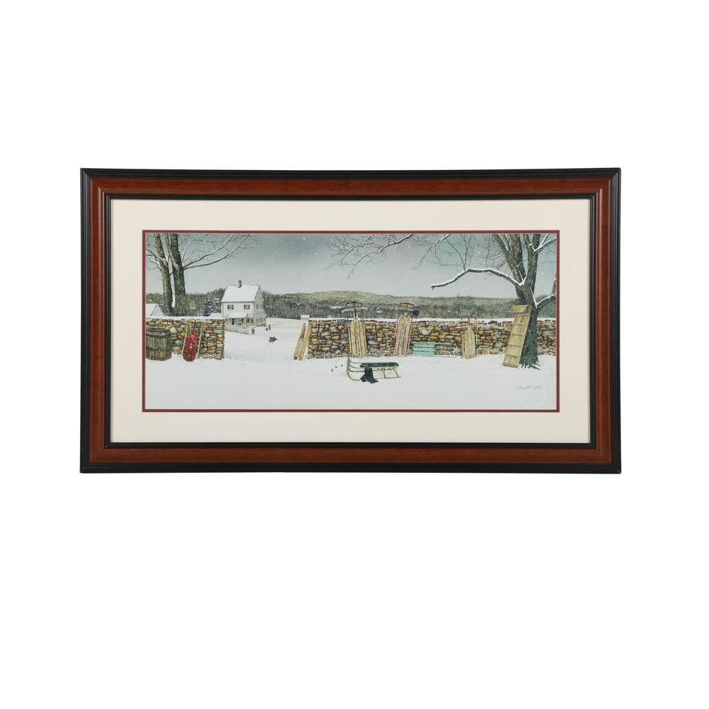 "Offset Lithograph After David E. Doss ""Let It Snow"""