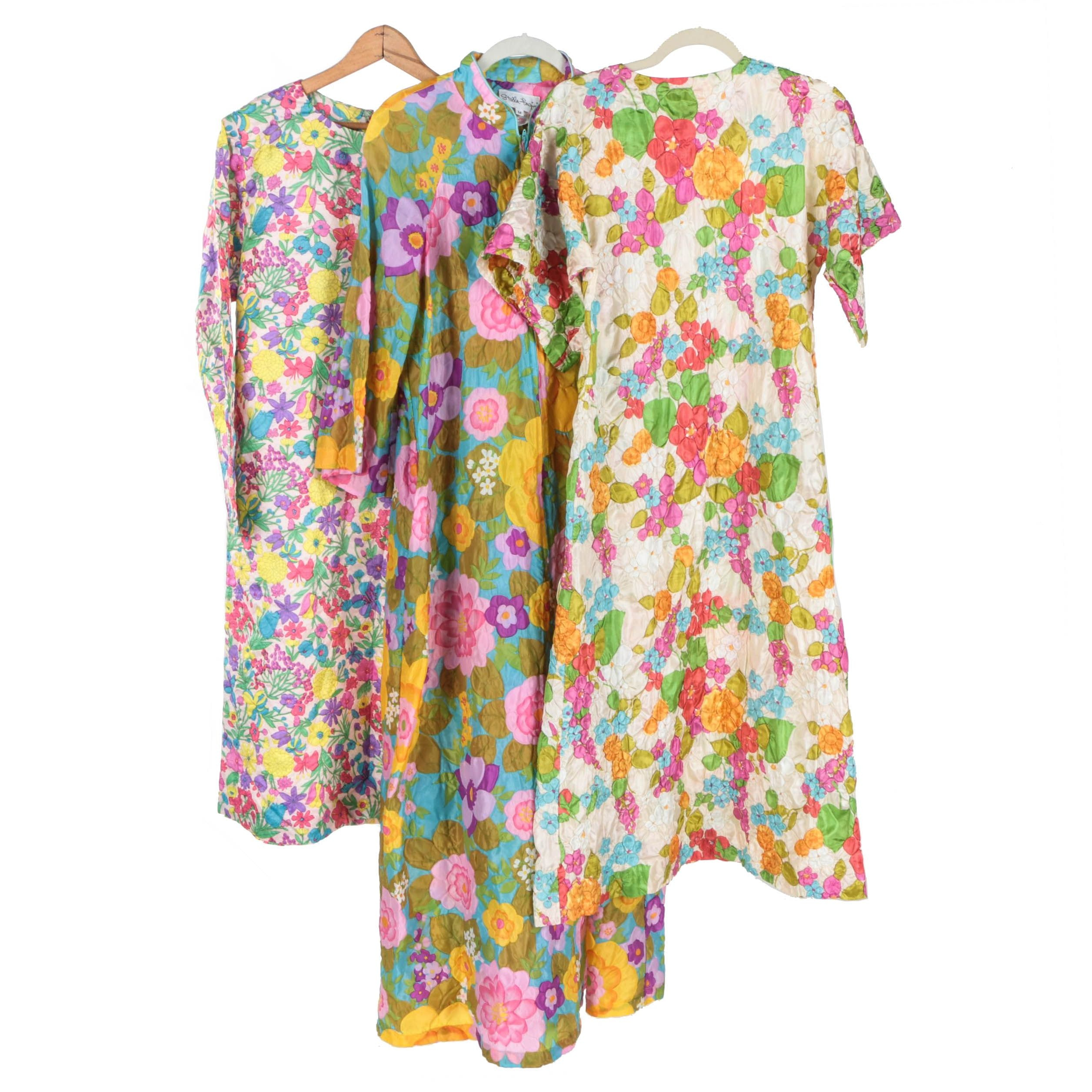 1960s Psychedelic Floral Housecoats