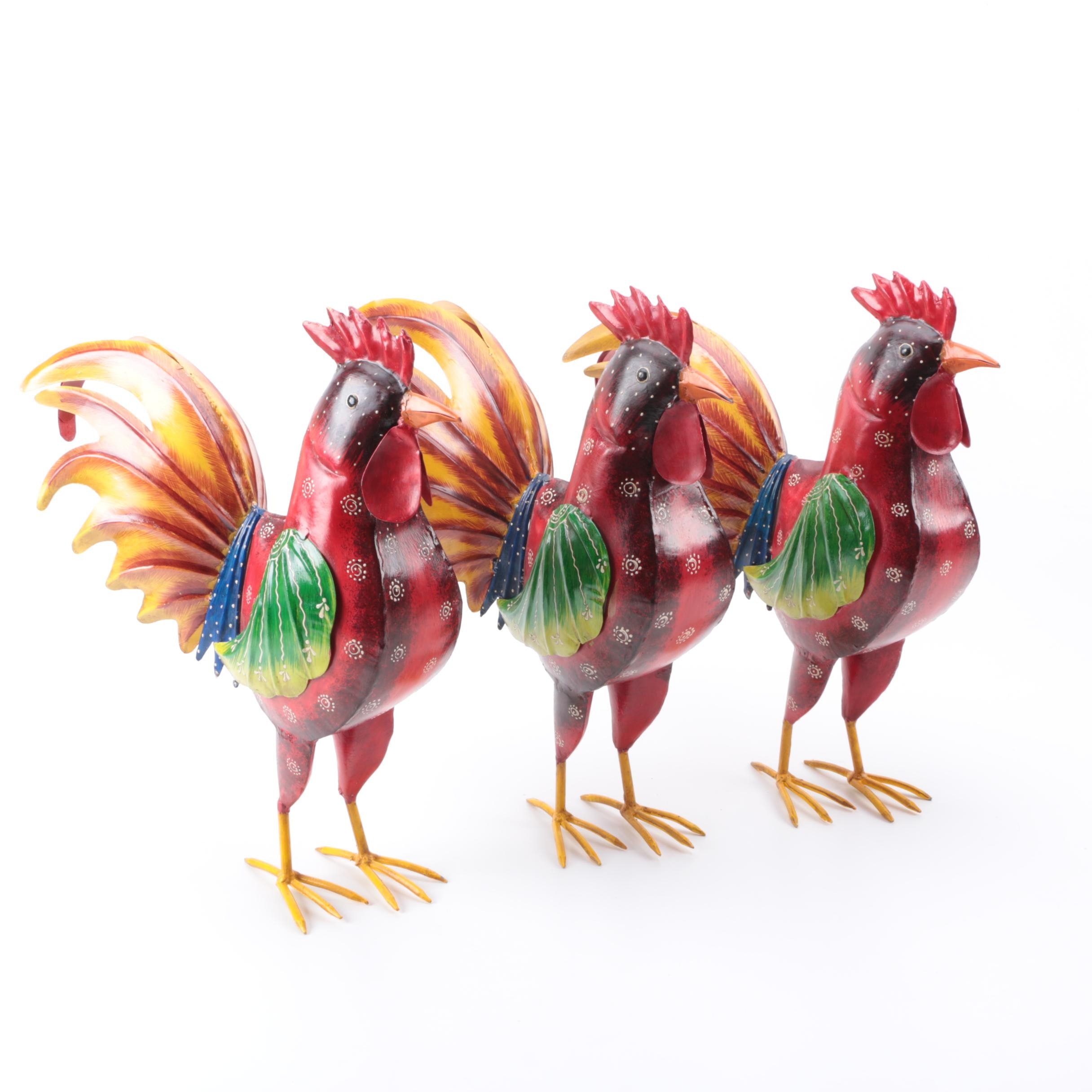 Painted Metal Rooster Decor