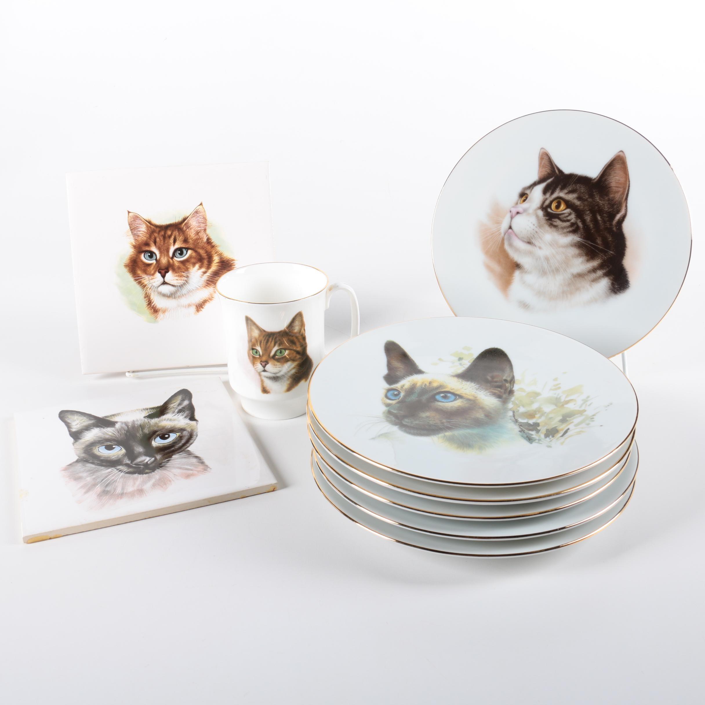 Feline Themed Ceramic Tableware