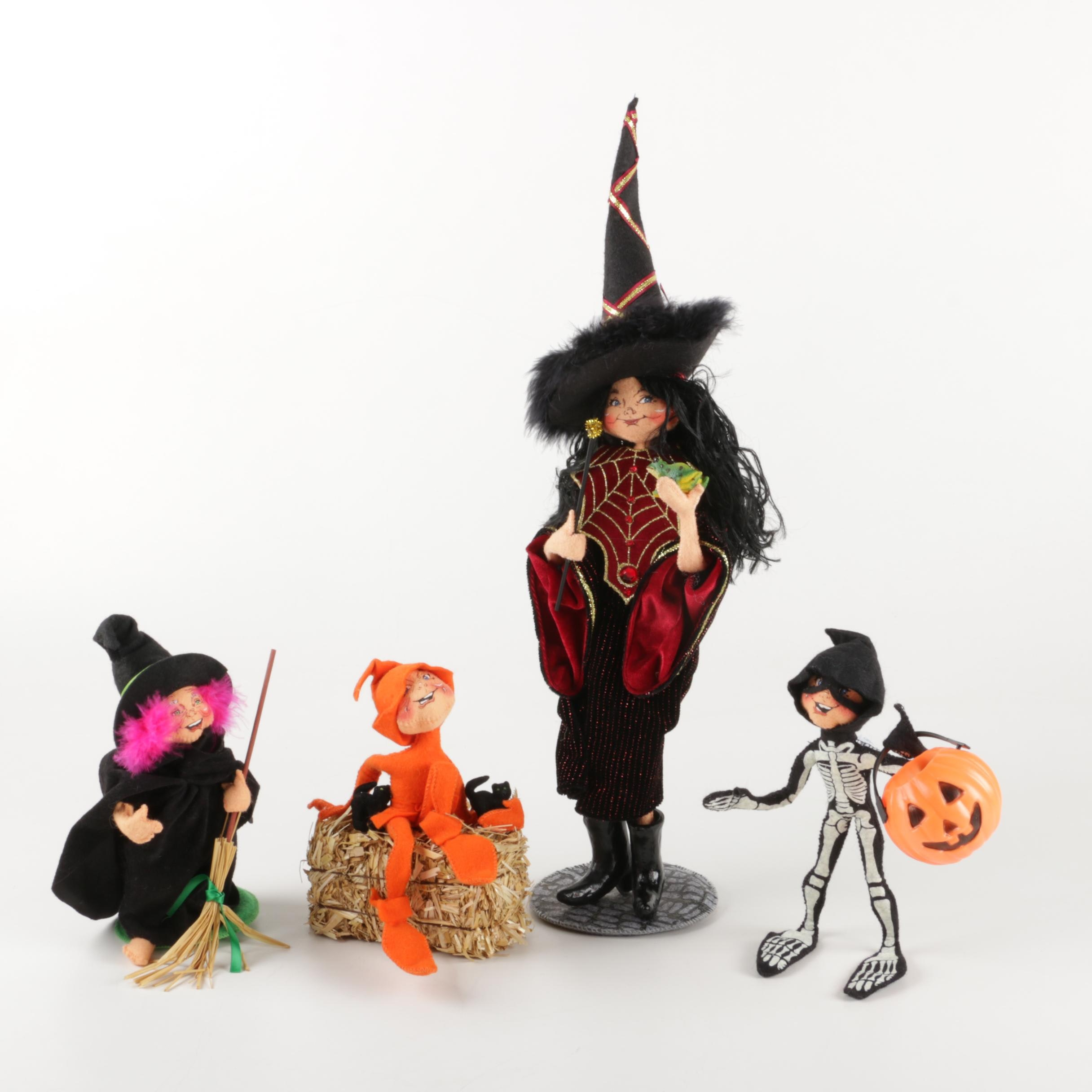 Hand-Stitched Annalee Halloween Witch and Figurine Set