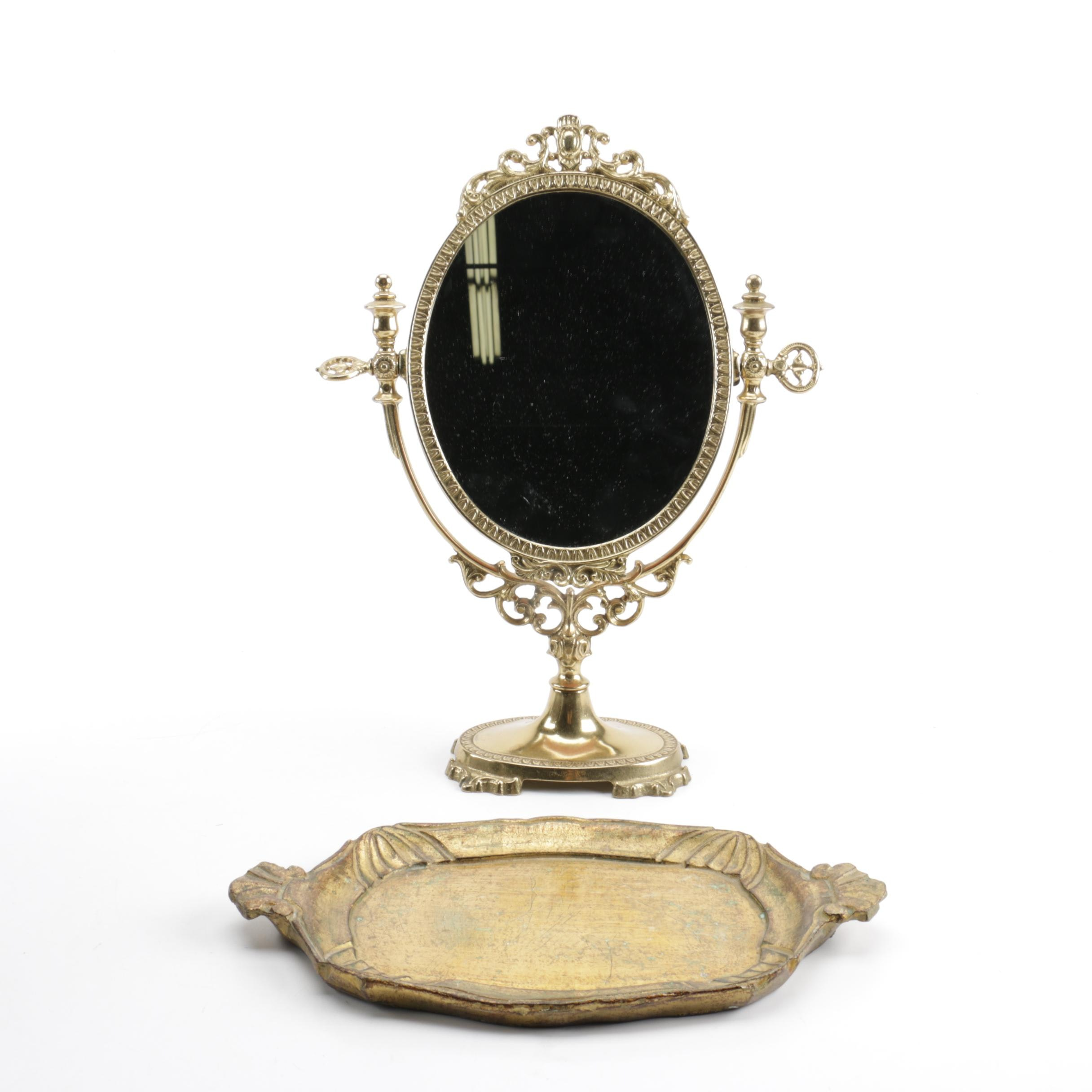 Victorian Style Vanity Mirror and Tray