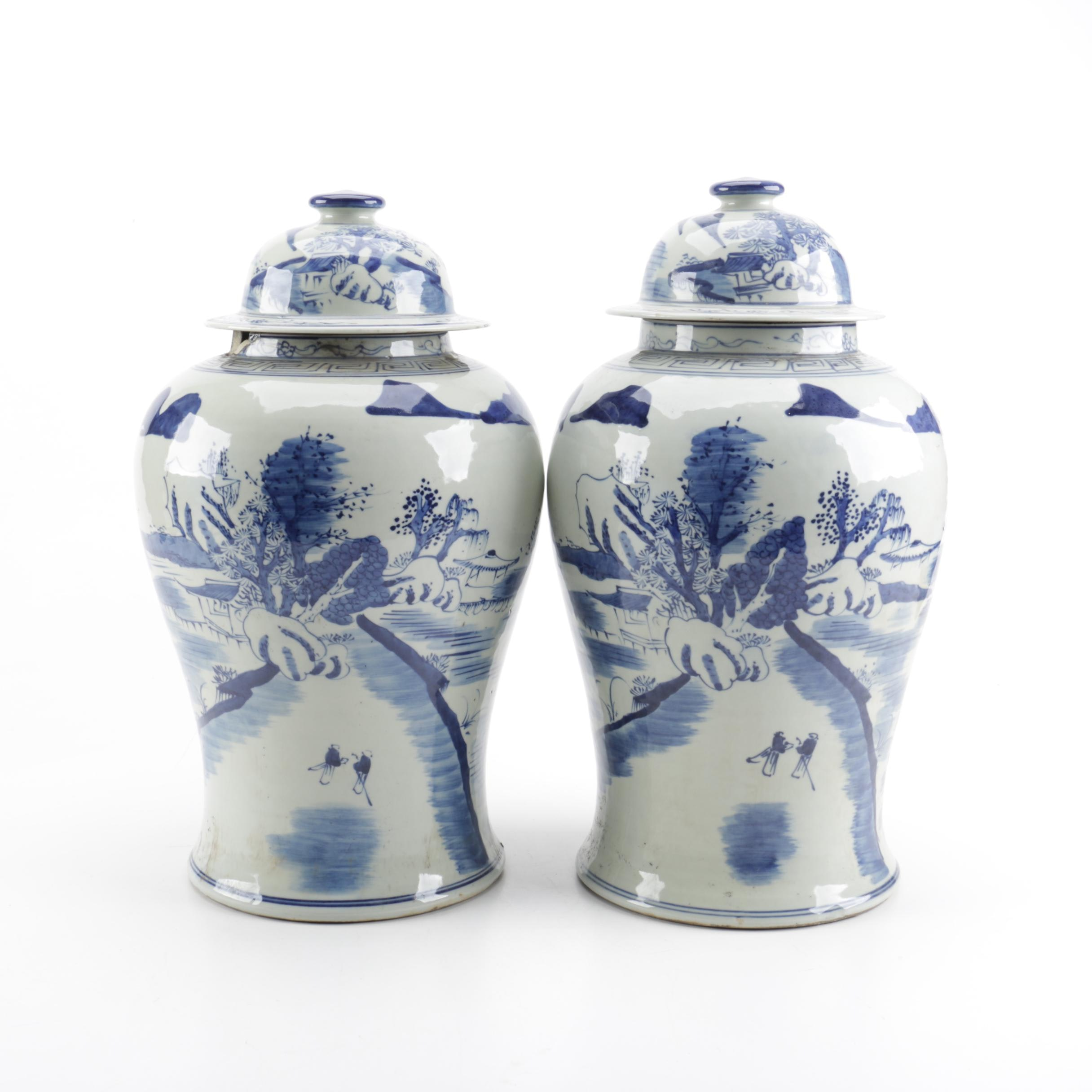 Pair of Chinese Blue and White Ceramic Temple Jars