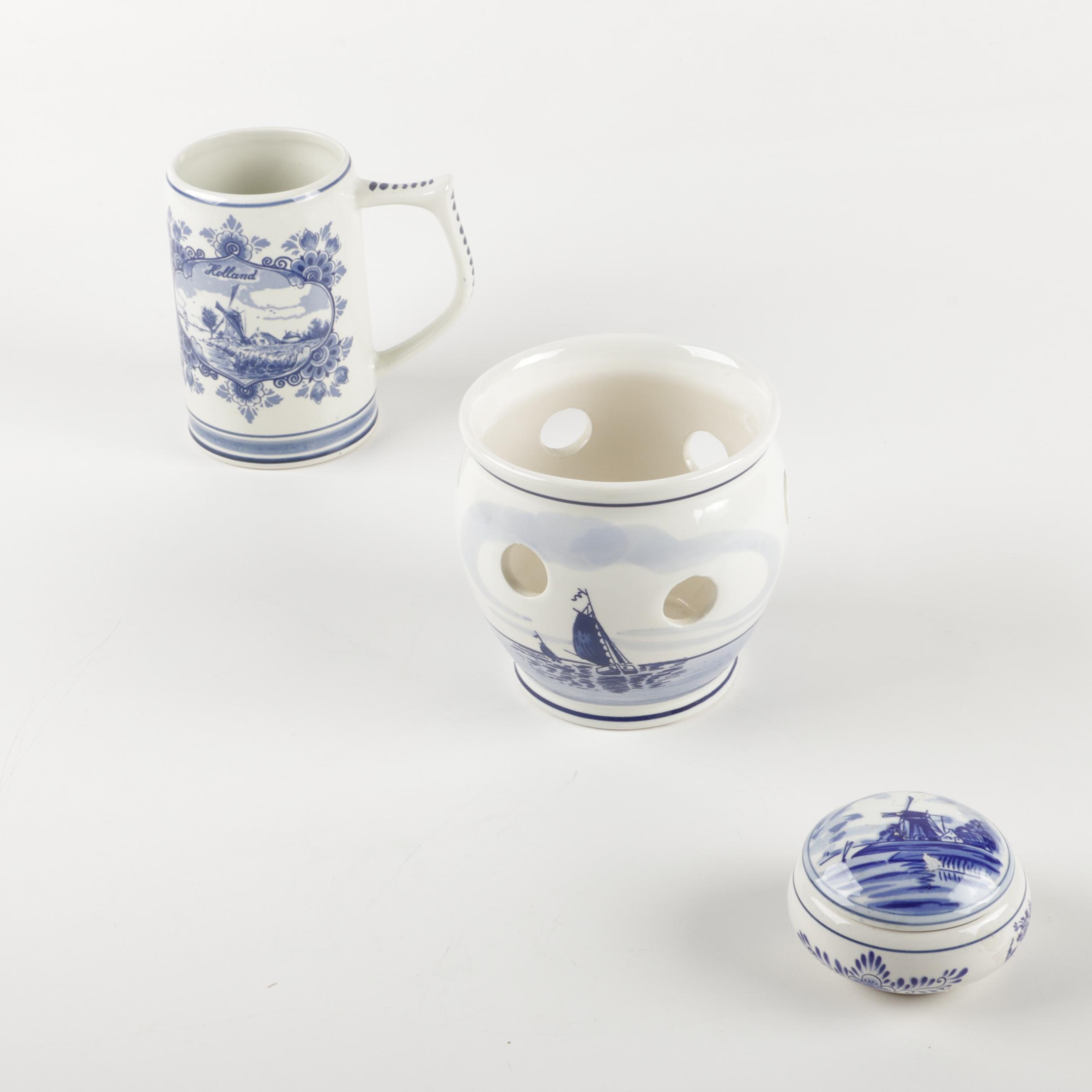 Delft Blue Windmill Ceramic Candle Holder, Mug and Trinket Box