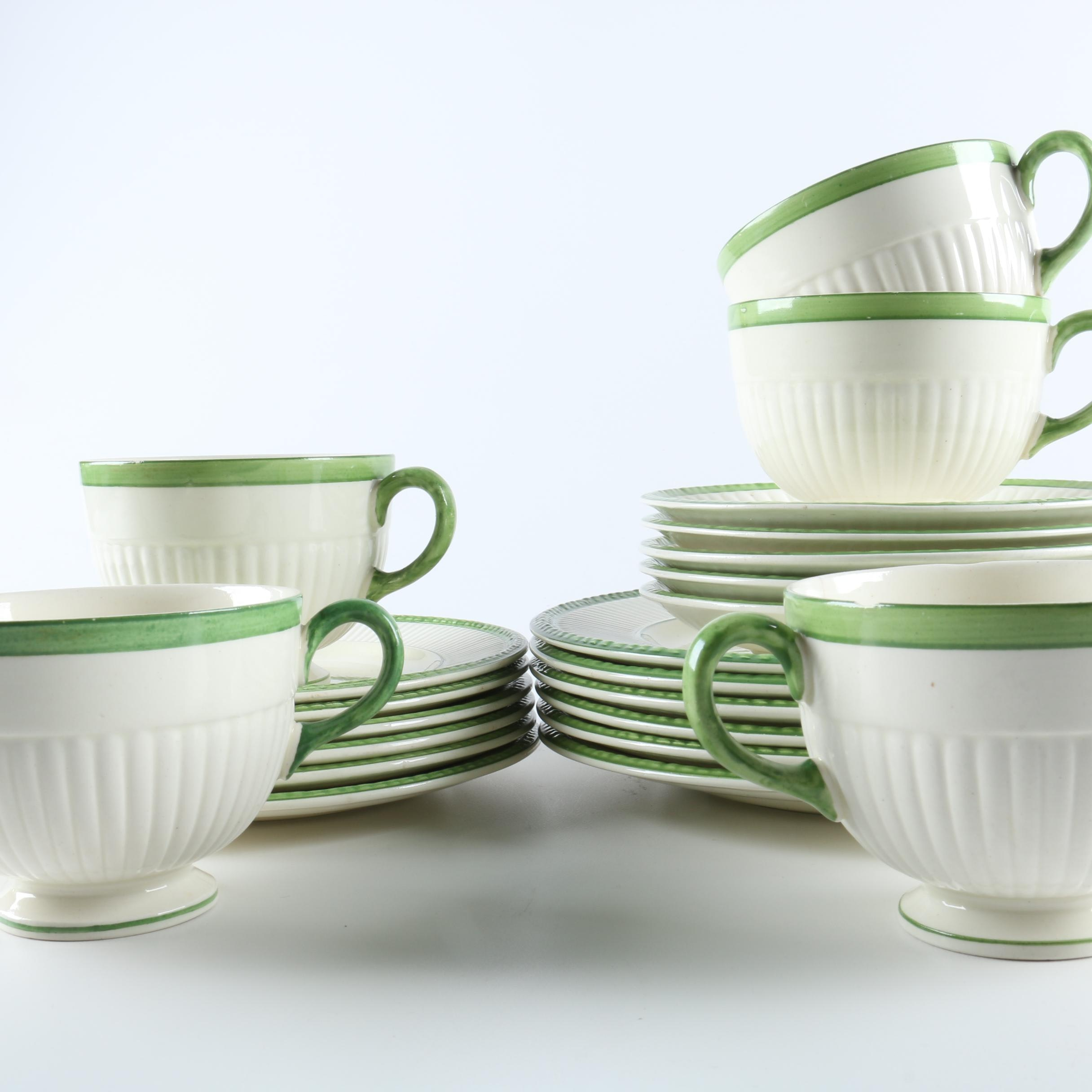 Wedgwood \ Edme\  Green Accented China Collection ... & Wedgwood \
