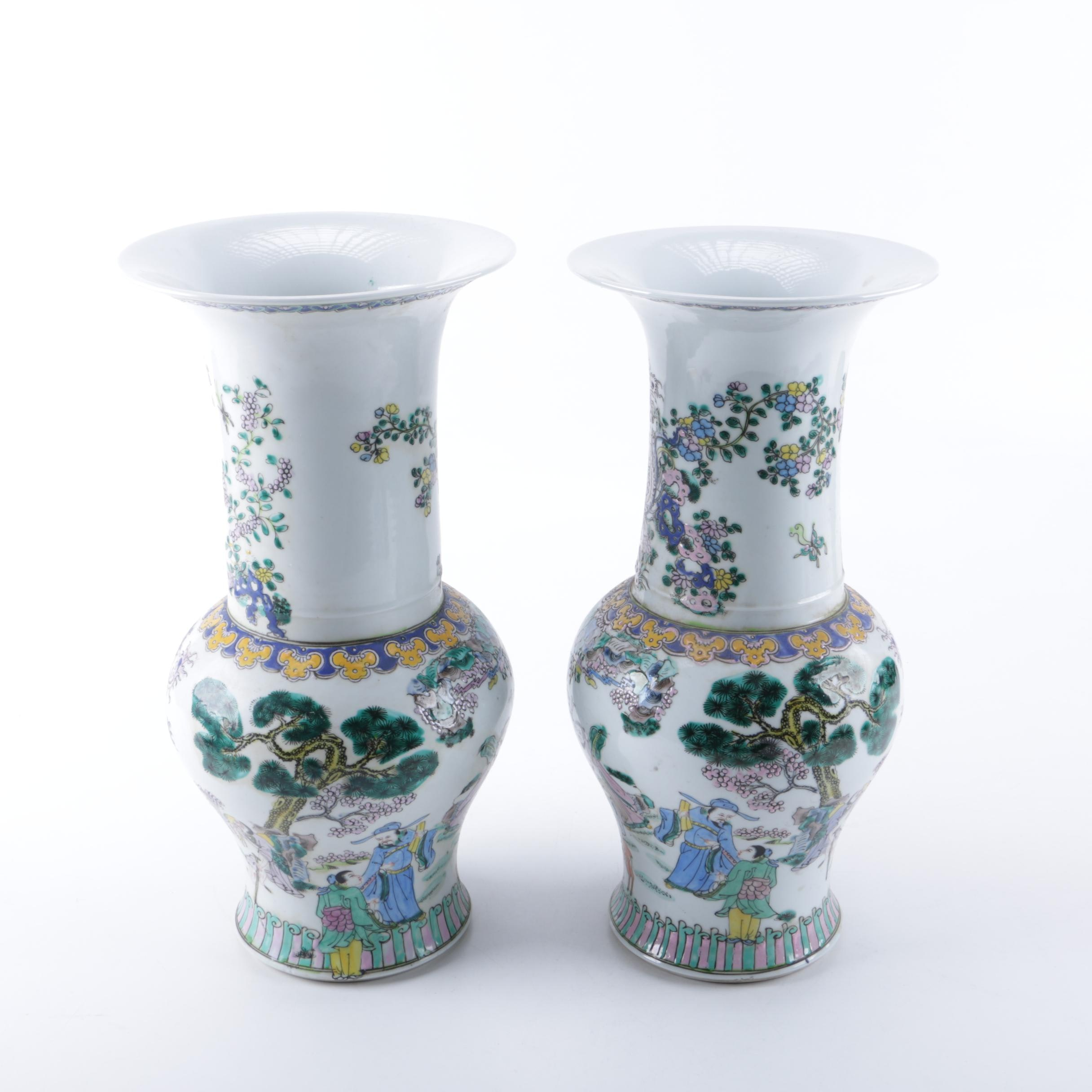Chinese Hand-Painted Porcelain Phoenix Tail Vases