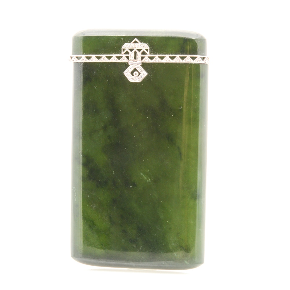 Cigarette Diamond: Jadeite And Diamond Cigarette Holder : EBTH