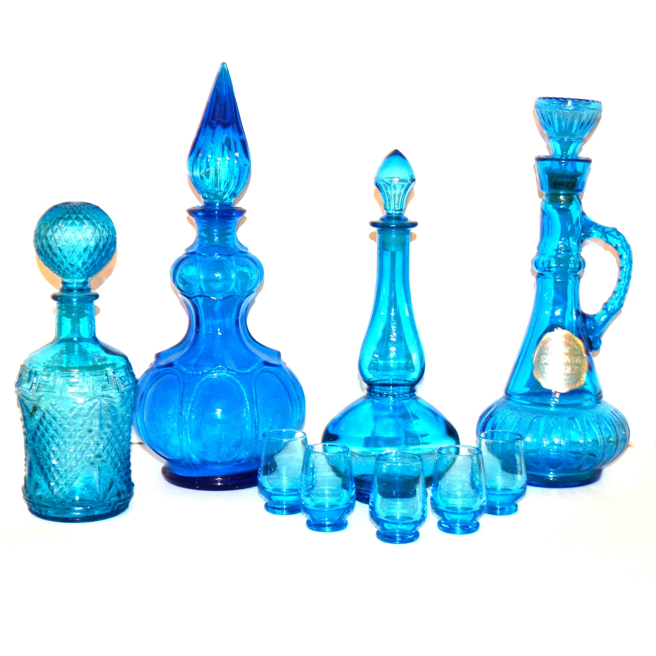 Vintage Blue Glass Liquor Decanters and Glasses