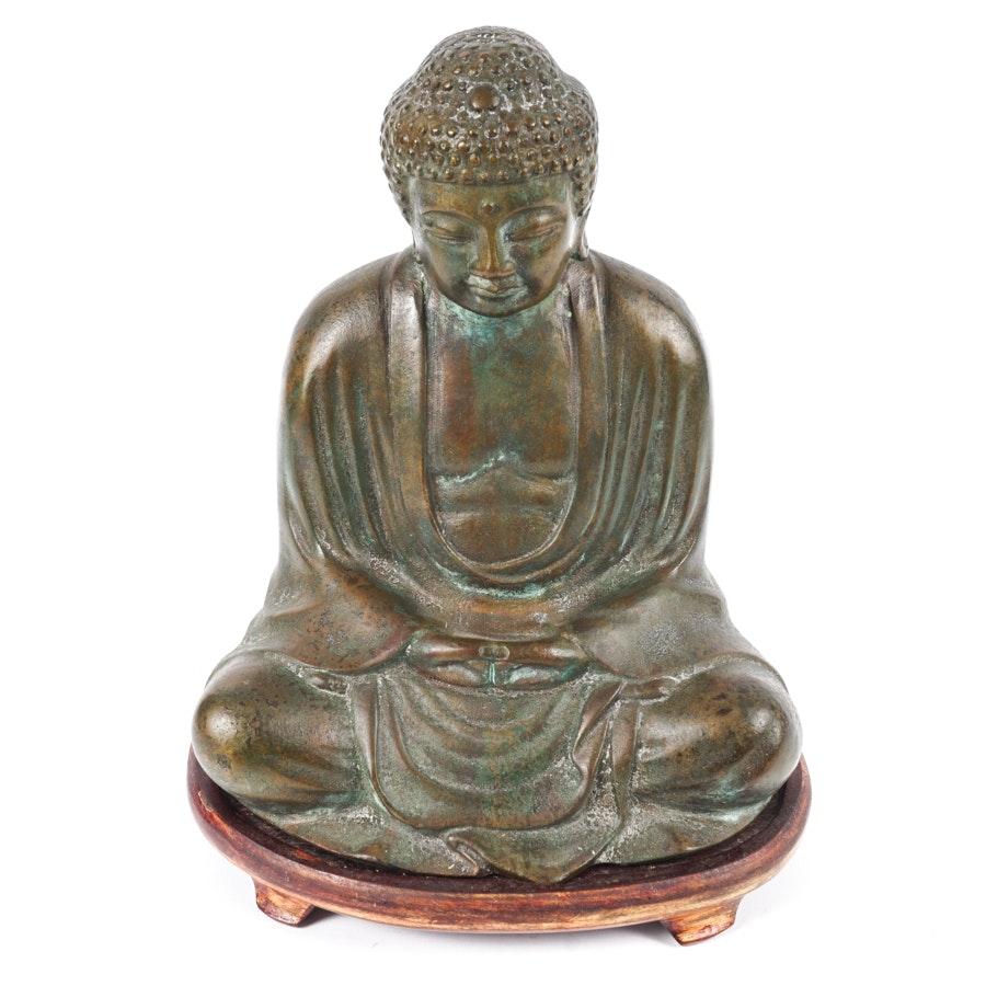 Bronze Tone Meditating Buddha Figurine