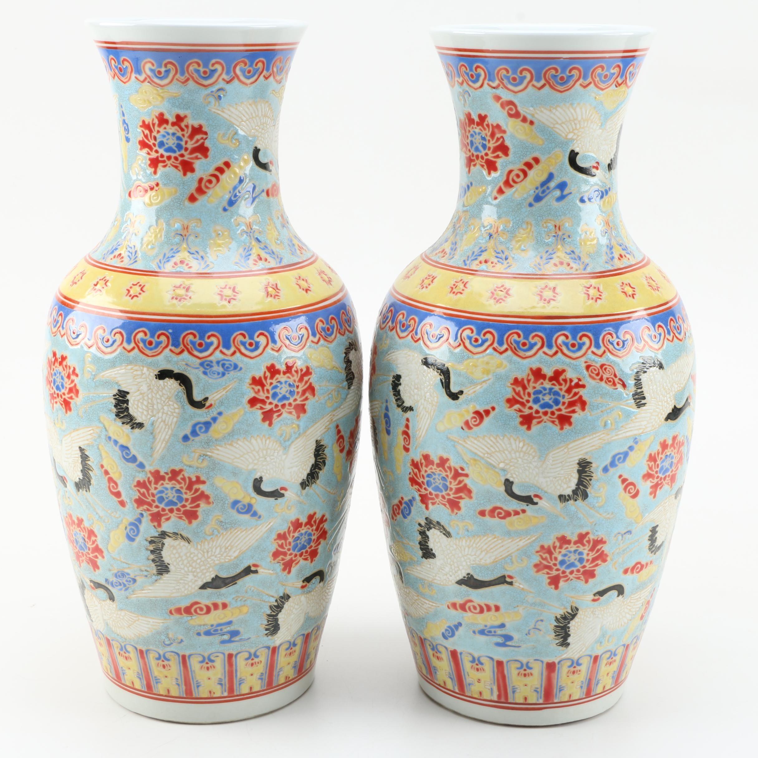 Matching Chinese Crane Vases