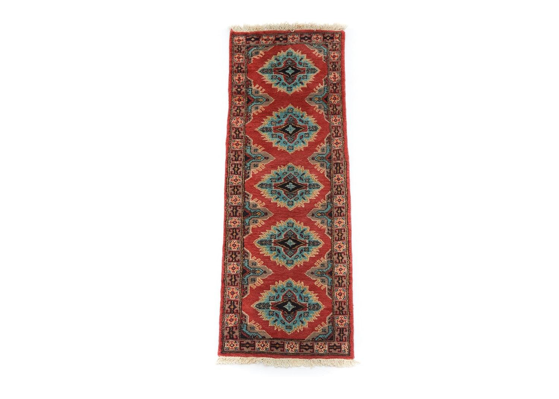 Hand-Knotted Indo-Kazak Runner Rug