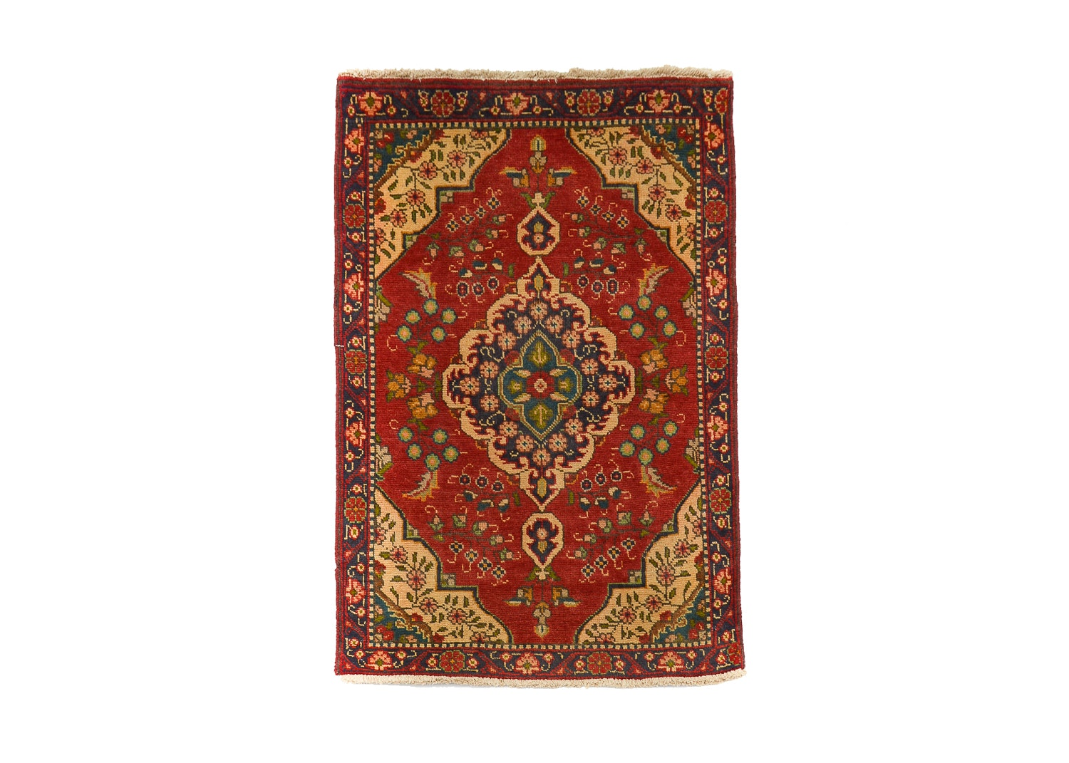 Hand-Knotted Persian Kashan Wool Accent Rug