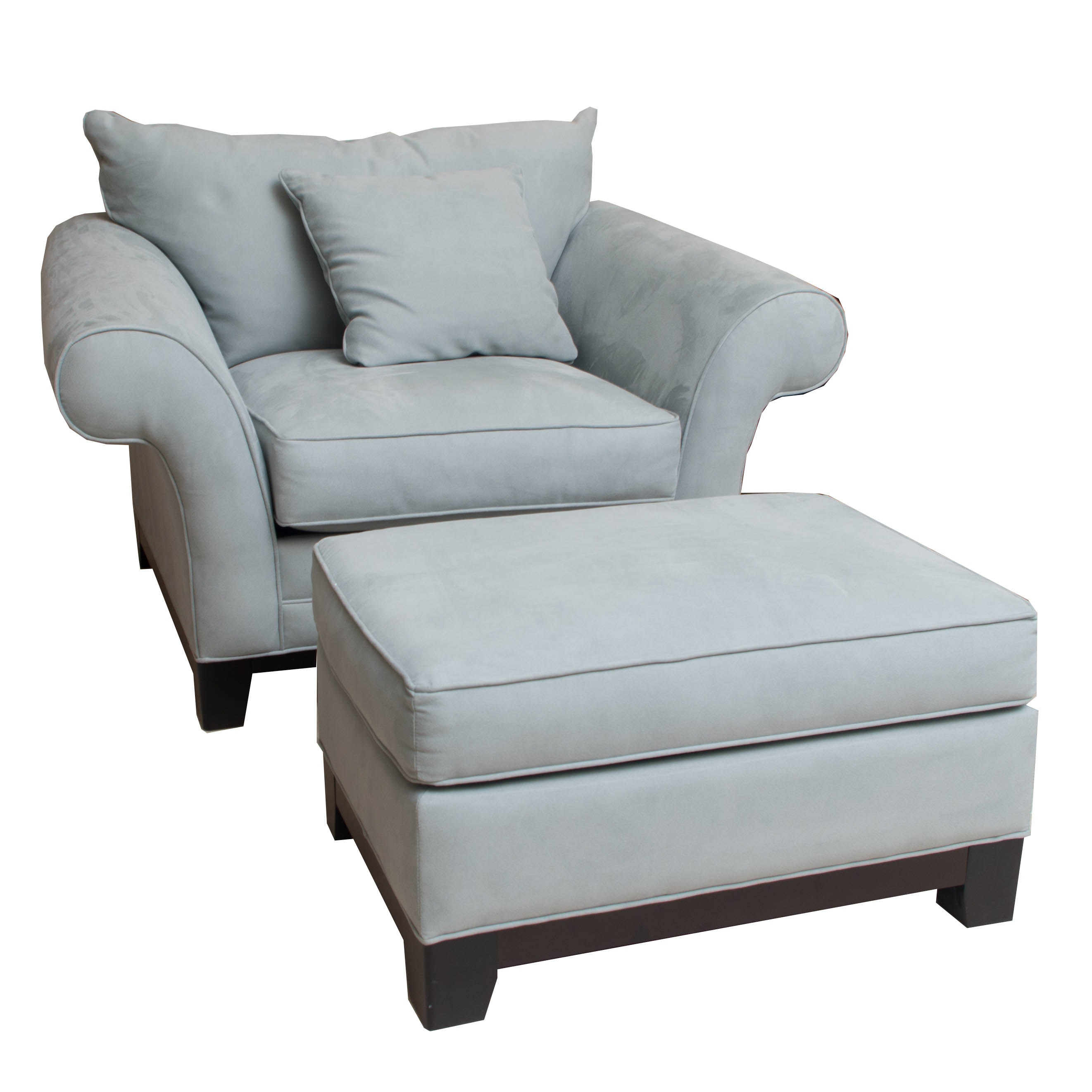 Cindy Crawford Home Pale Blue-Upholstered Armchair and Ottoman