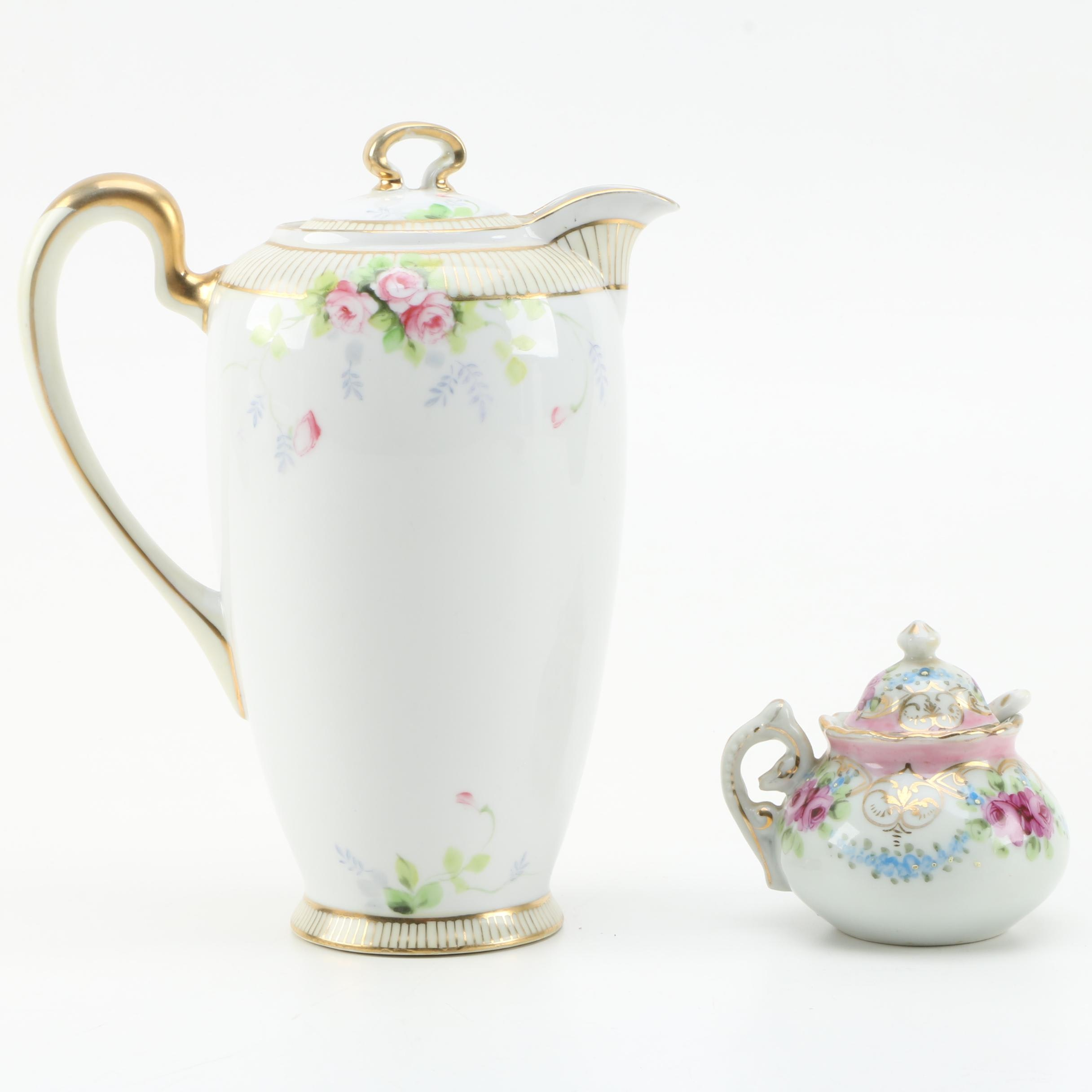 Porcelain Coffee Pot and Sugar Bowl Including Nippon