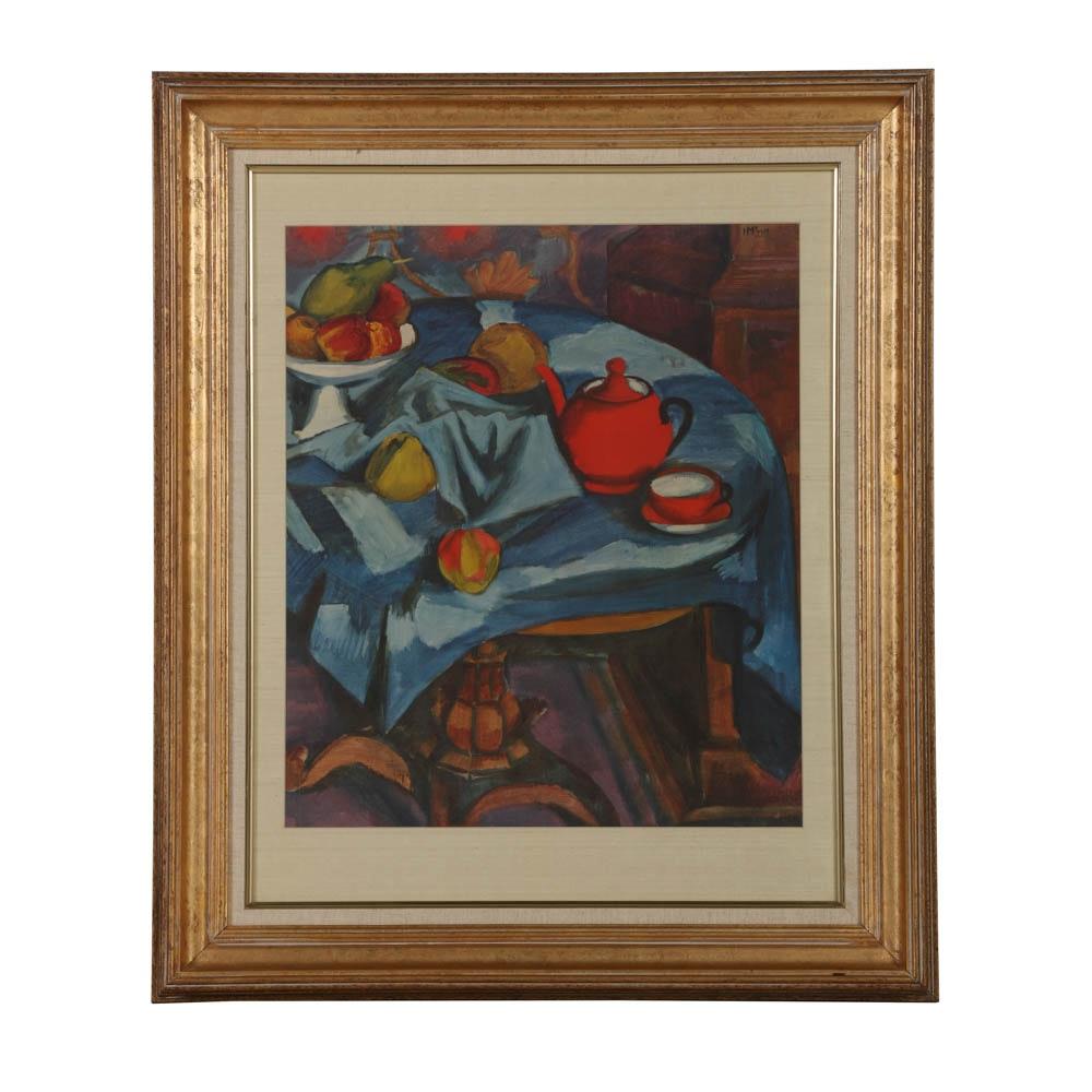 Framed Offset Lithograph After Cubist Still Life