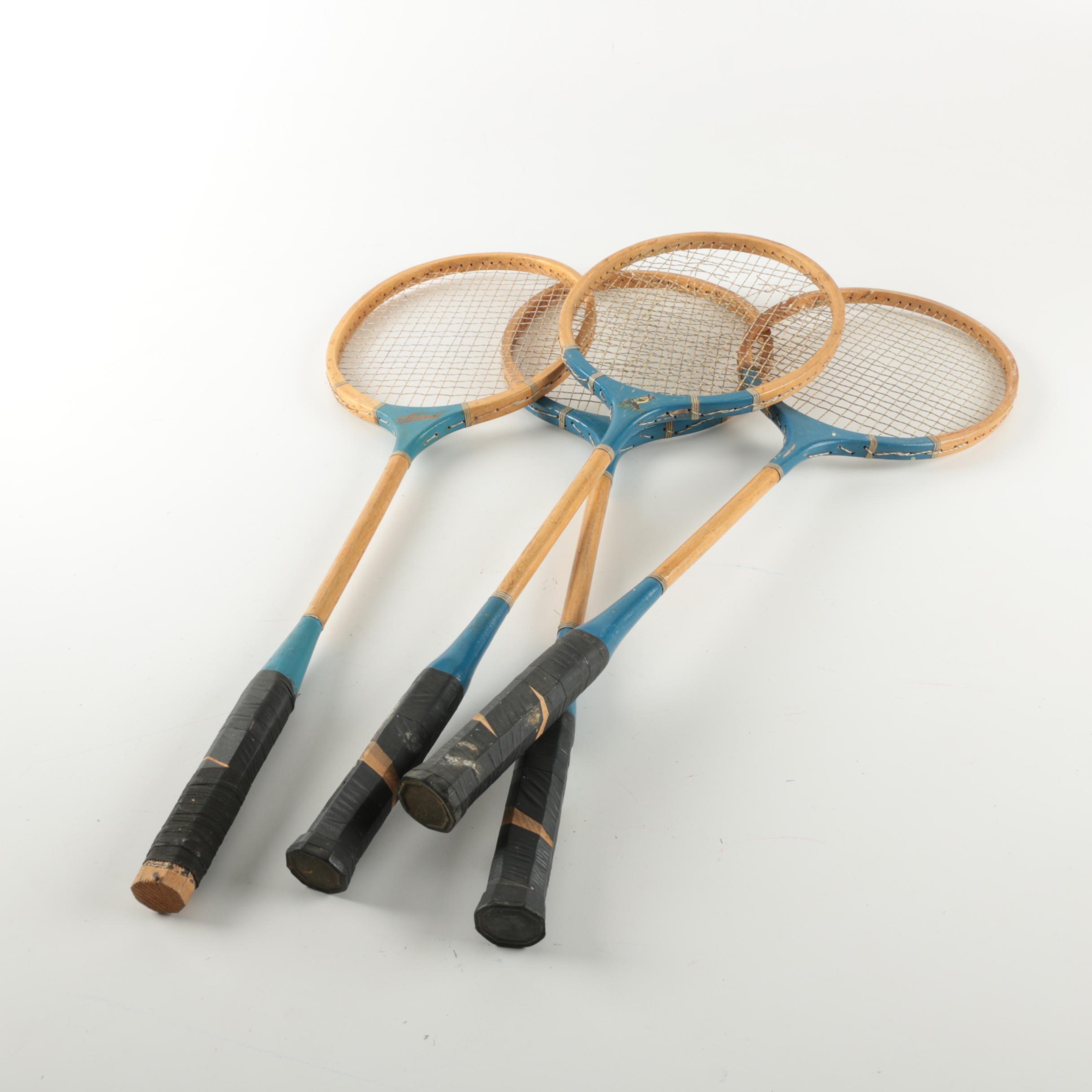 Four Vintage Badminton Rackets