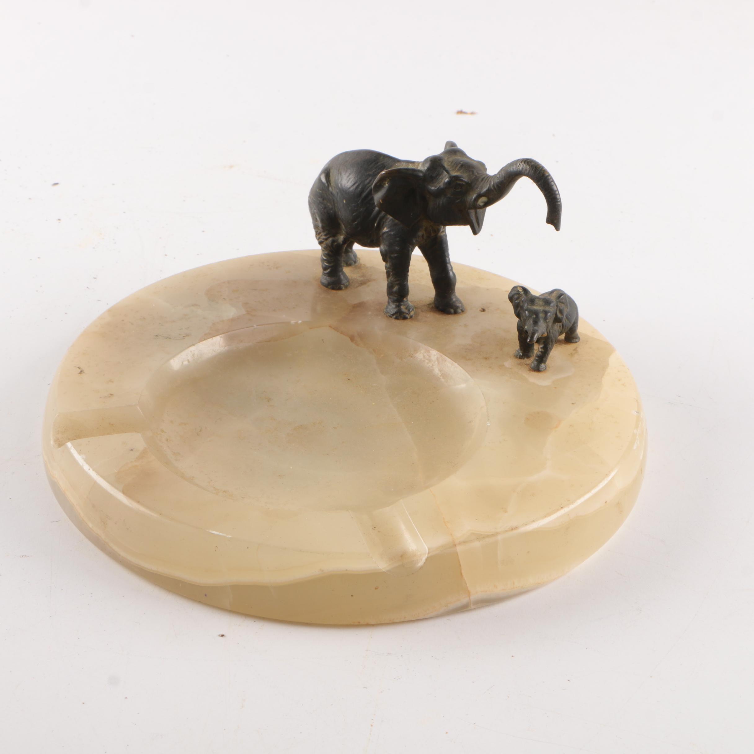Calcite Ash Receiver Featuring Bronze Elephants