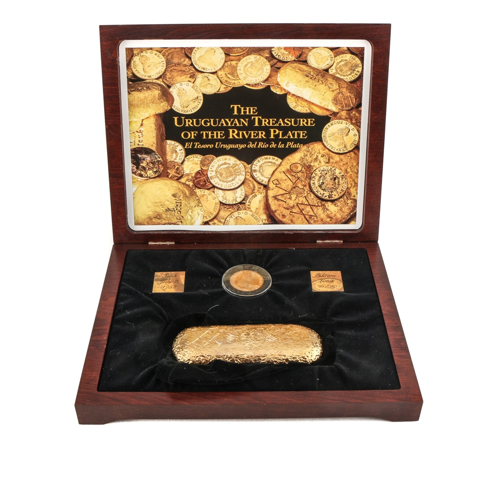 """Uruguayan Treasure of The River Plate"" 8 Escudos Gold Coin and Replica Bar Set"