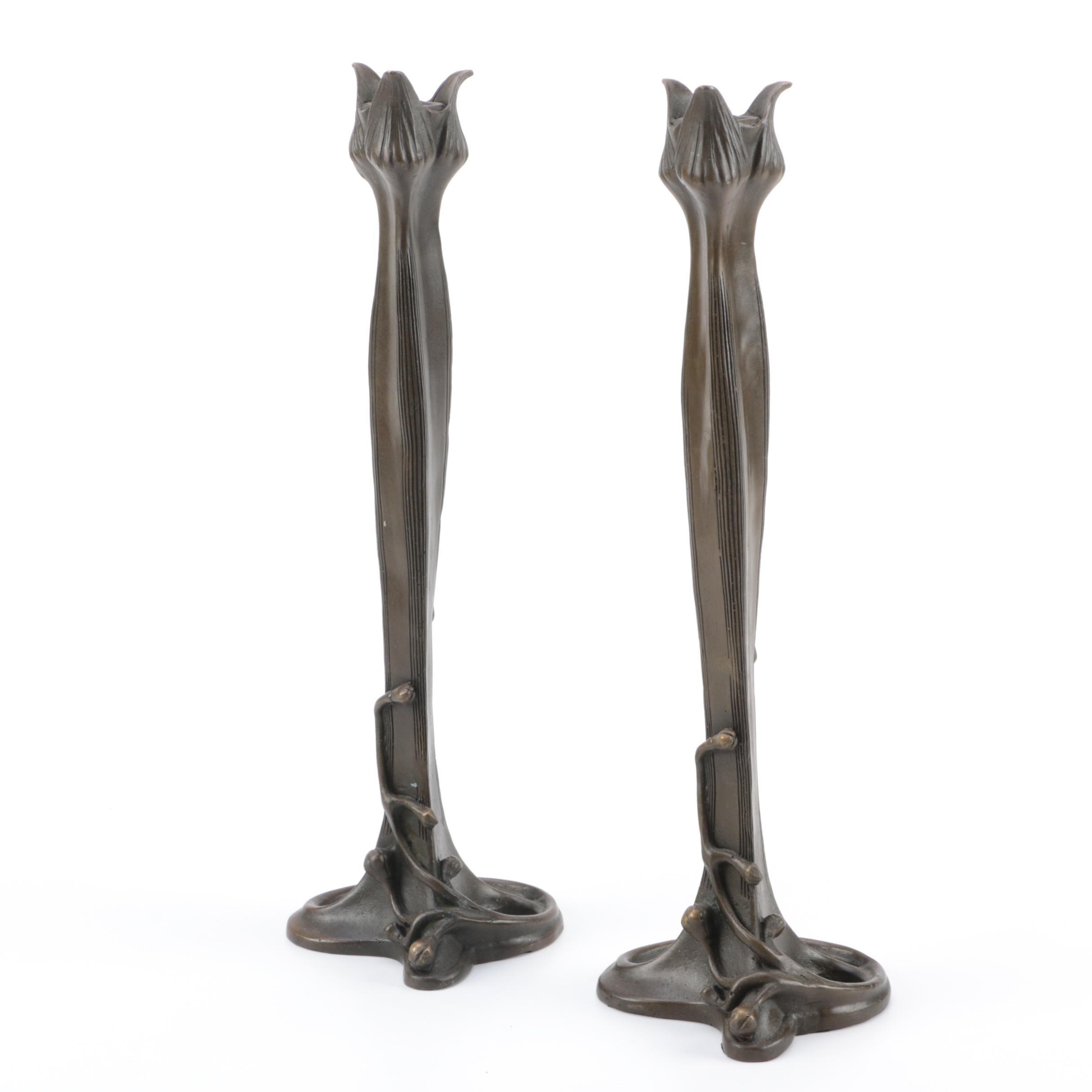 Pair of Art Nouveau Bronze Candlesticks by Milo
