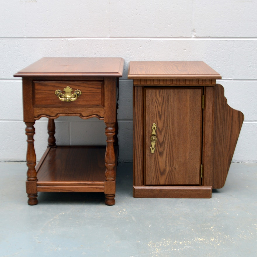 Vintage Oak End Tables By Tell City
