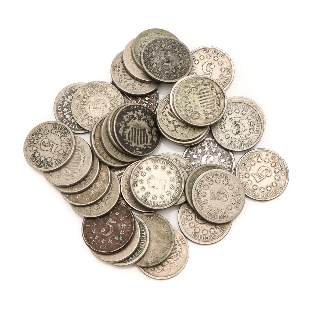 Forty Antique Shield Nickels