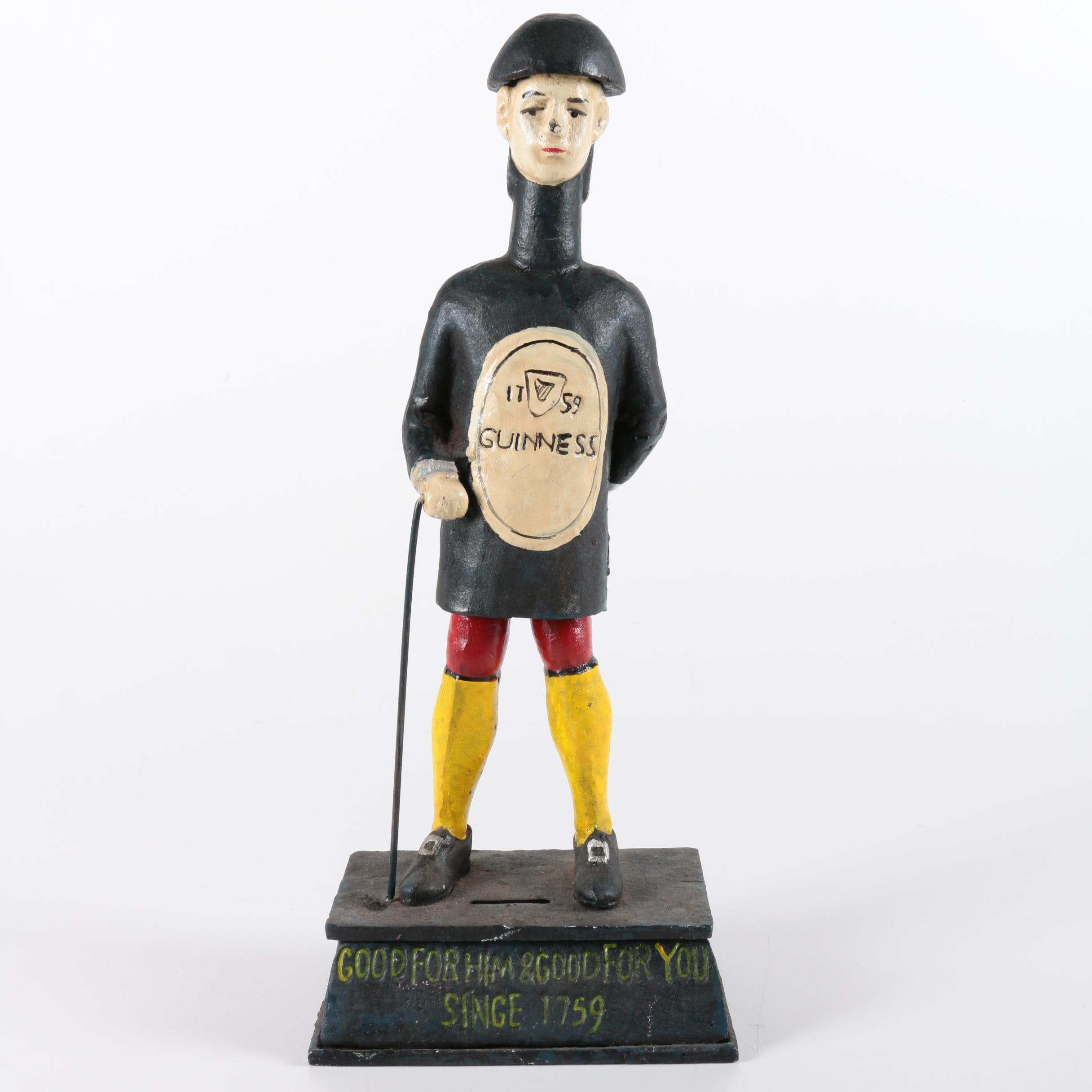 Cast Iron Figural Guinness Bottle Coin Bank