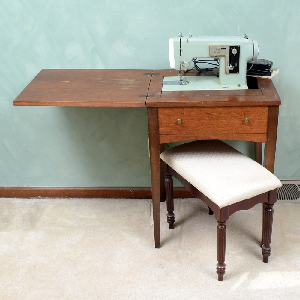 Sears Kenmore Sewing Machine with Table and Bench