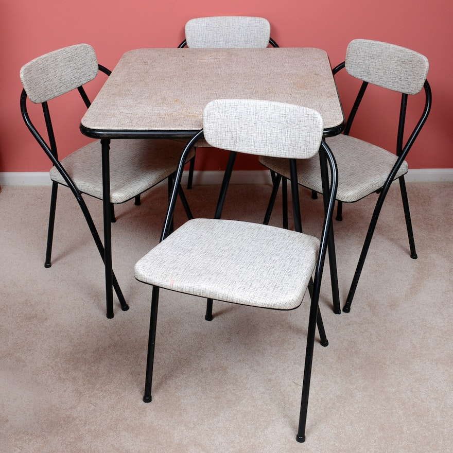 vintage stylaire card table and folding chairs from hamilton cosco ebth. Black Bedroom Furniture Sets. Home Design Ideas