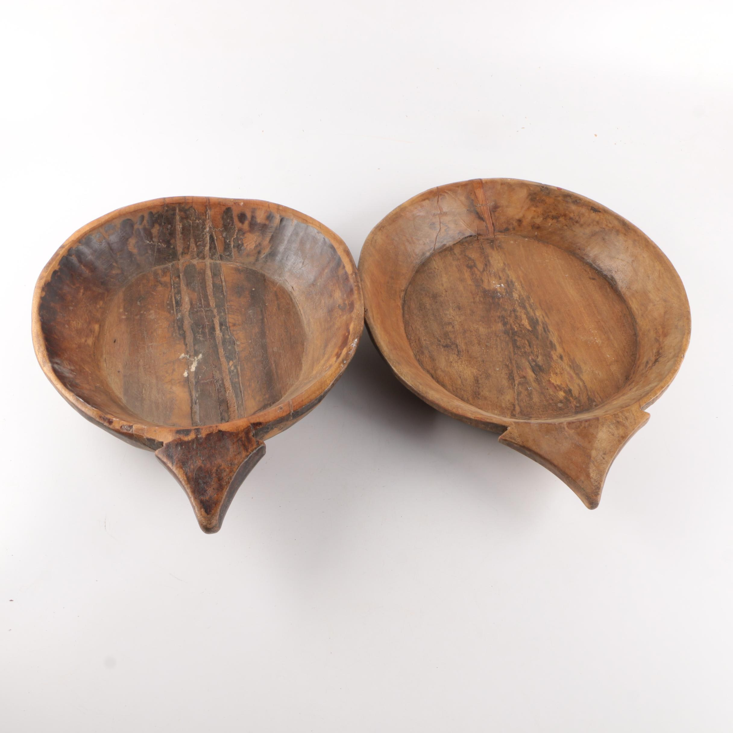 Pair of Hand Hewn  Wooden Bowls