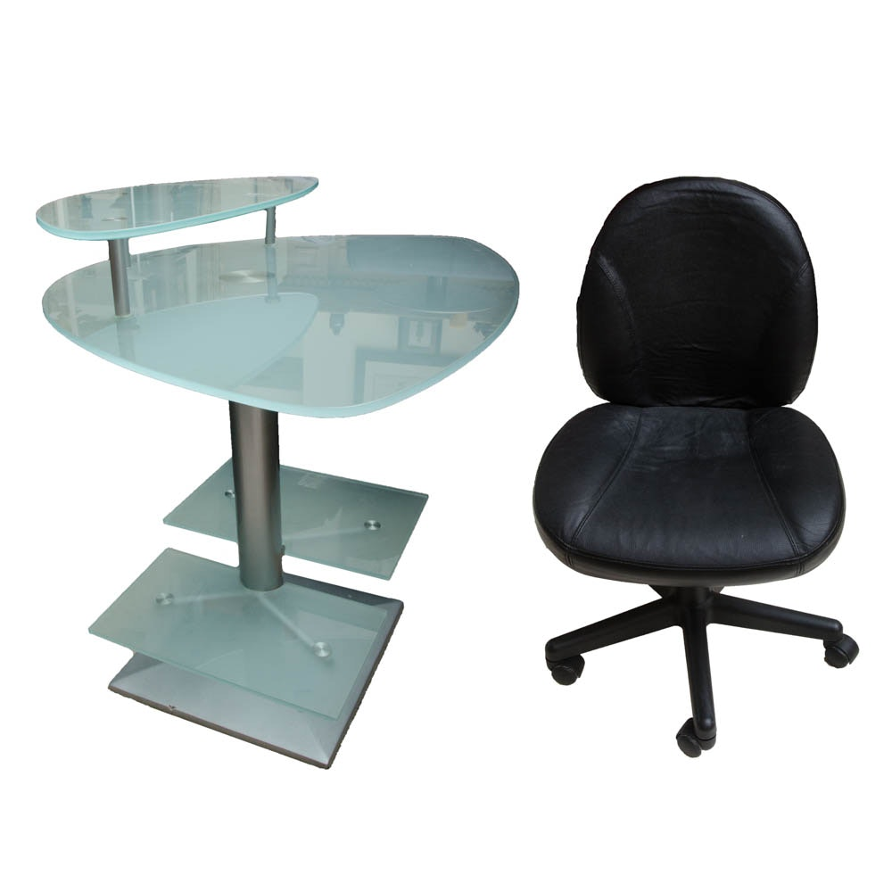 Frosted Glass Desk And Office Chair ...