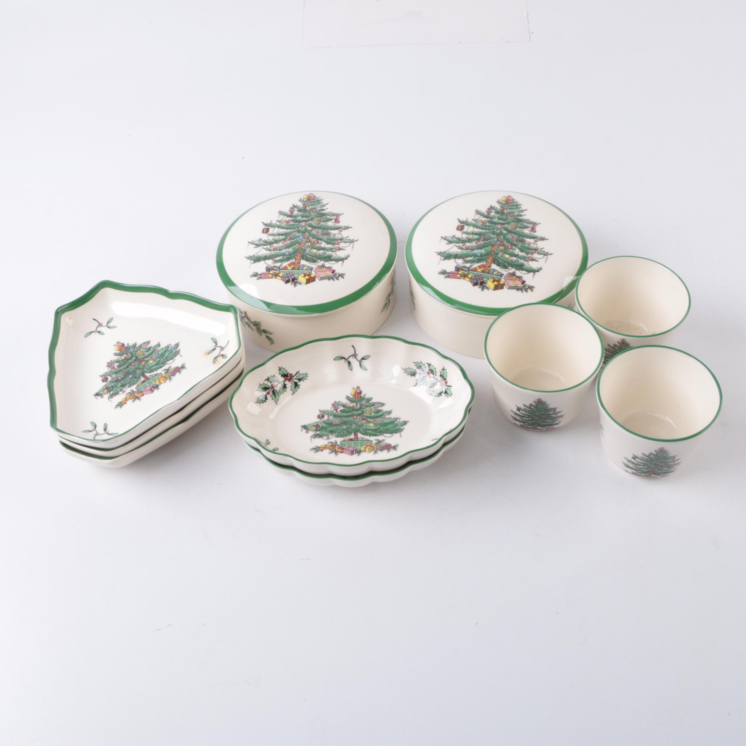 """Spode Ceramic """"Christmas Tree"""" Servingware and Votive Set"""