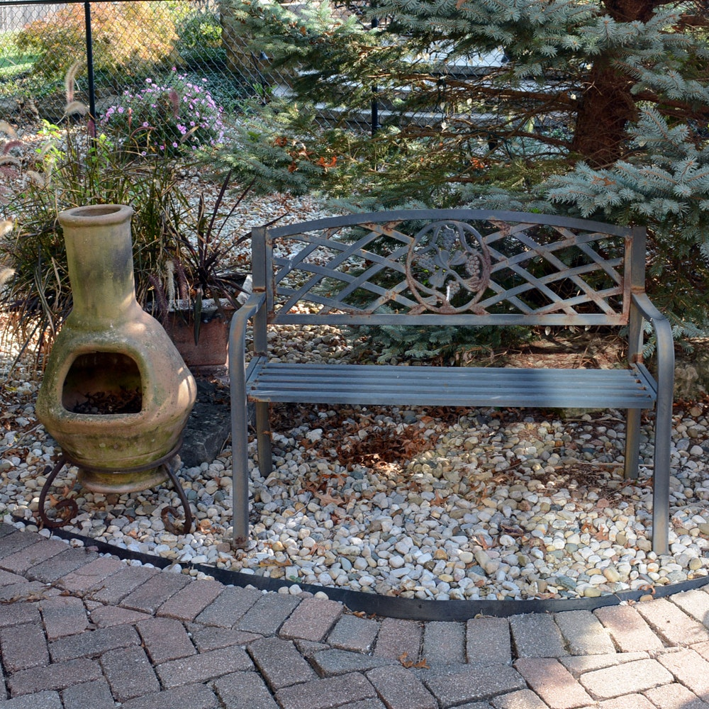 Metal Patio Bench and Chiminea