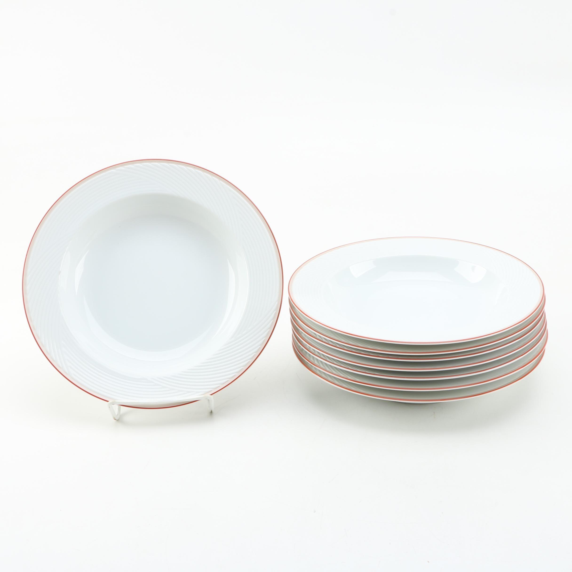 """Set of Dansk """"Damask Red"""" Large Rim Soup Bowls"""