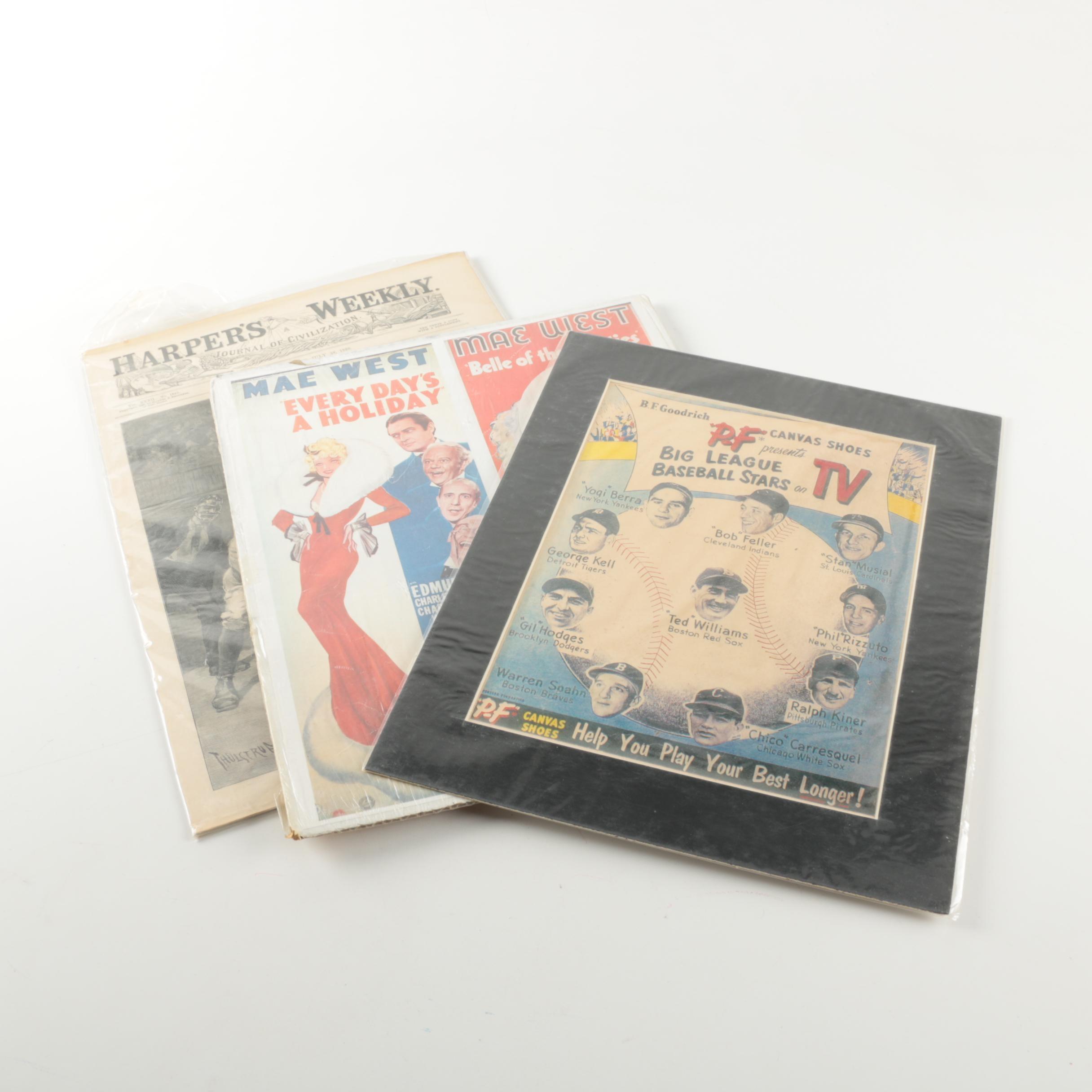 "1888 ""Harper's Weekly"" Baseball Illustration and Vintage Advertisements"
