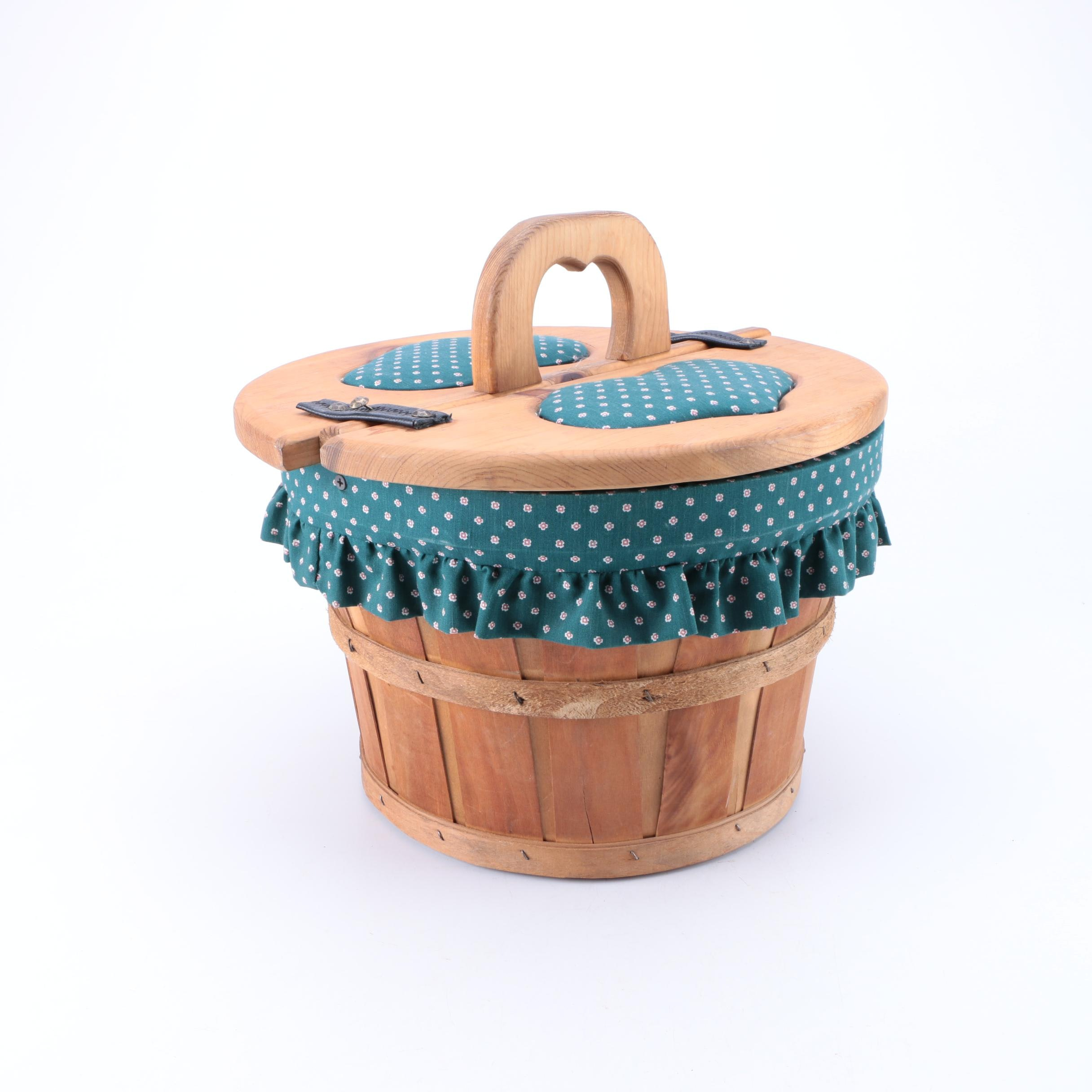 Wood and Cloth Picnic Basket