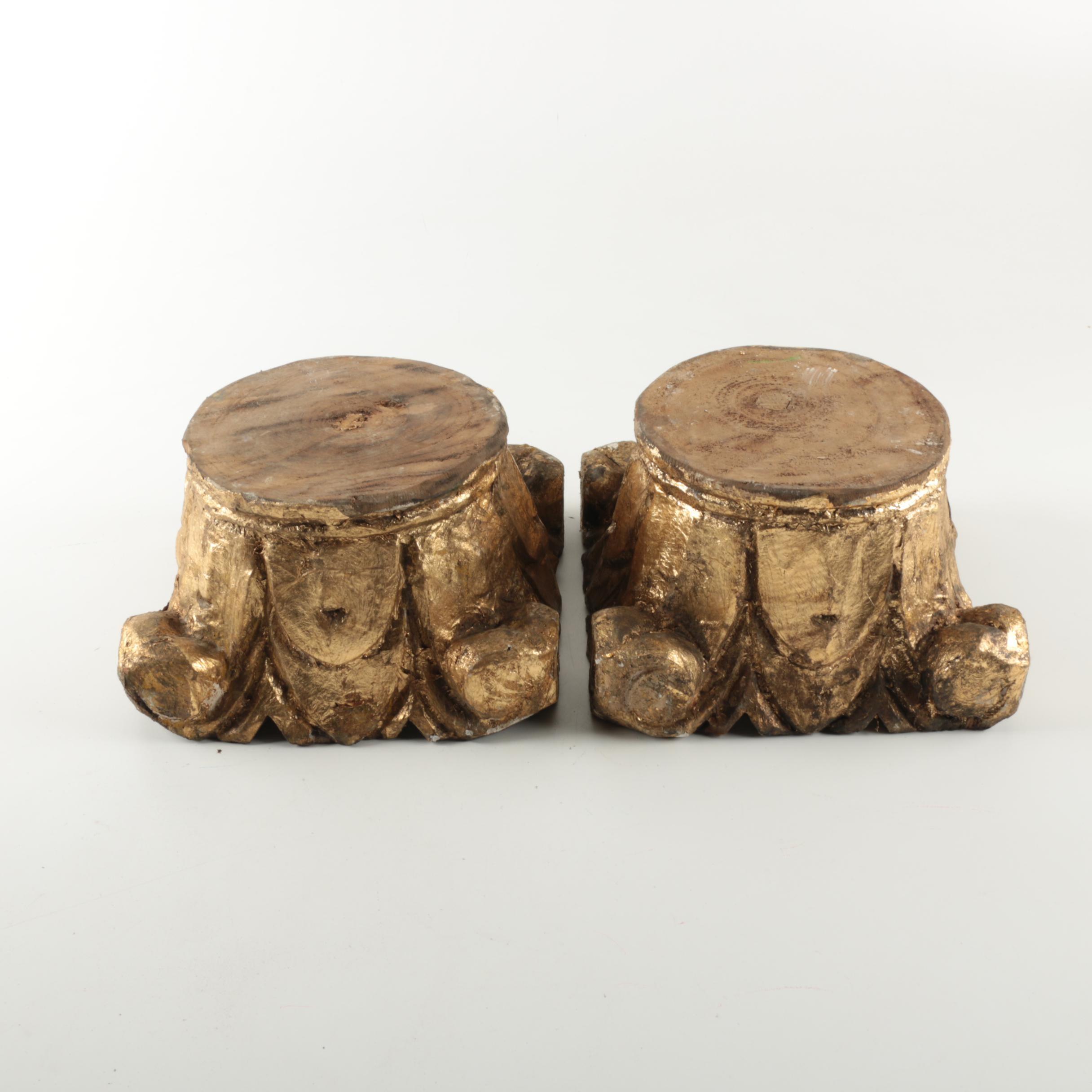 Pair of Wood Gilt Capitals