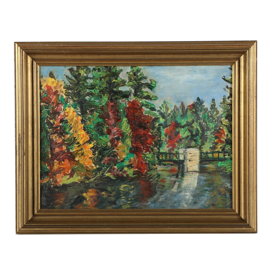 Oil painting on canvas board of autumn scene ebth for What is canvas board